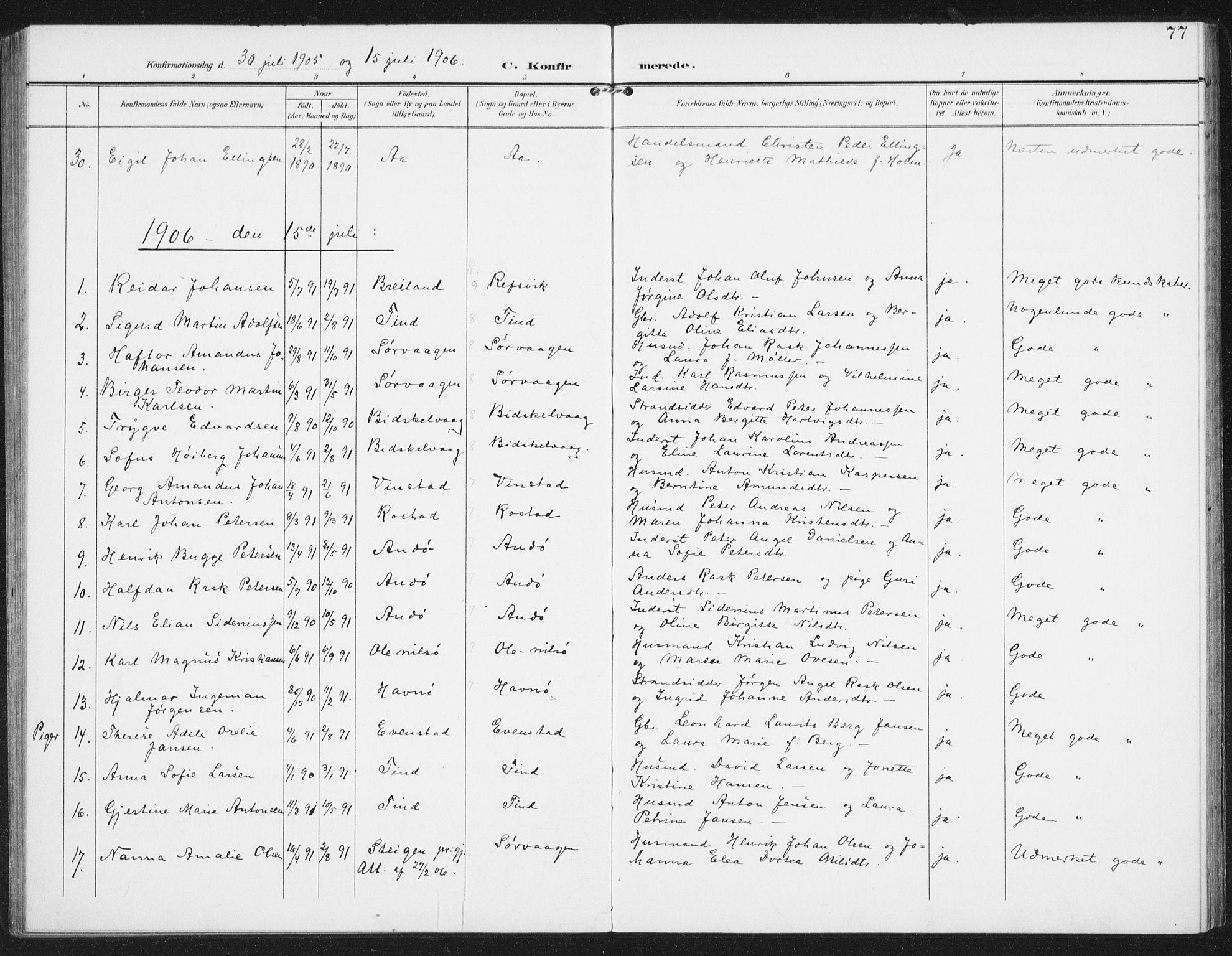 SAT, Ministerialprotokoller, klokkerbøker og fødselsregistre - Nordland, 886/L1221: Ministerialbok nr. 886A03, 1903-1913, s. 77