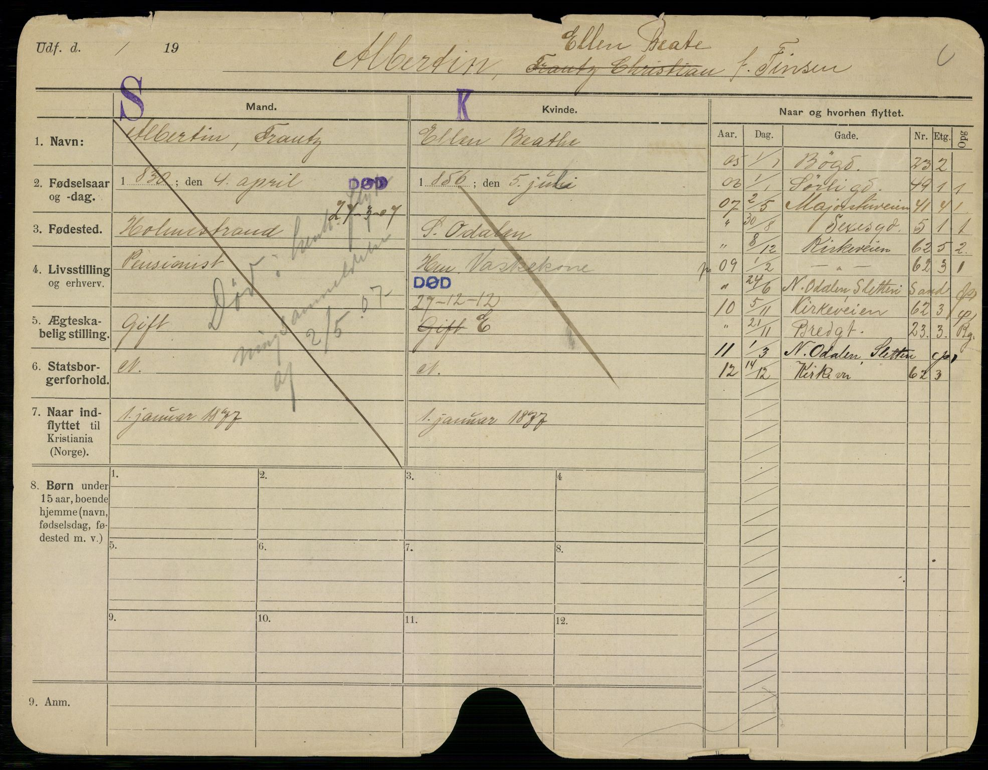 SAO, Oslo folkeregister, Registerkort, G/Gb/L0014: Kvinner, 1912