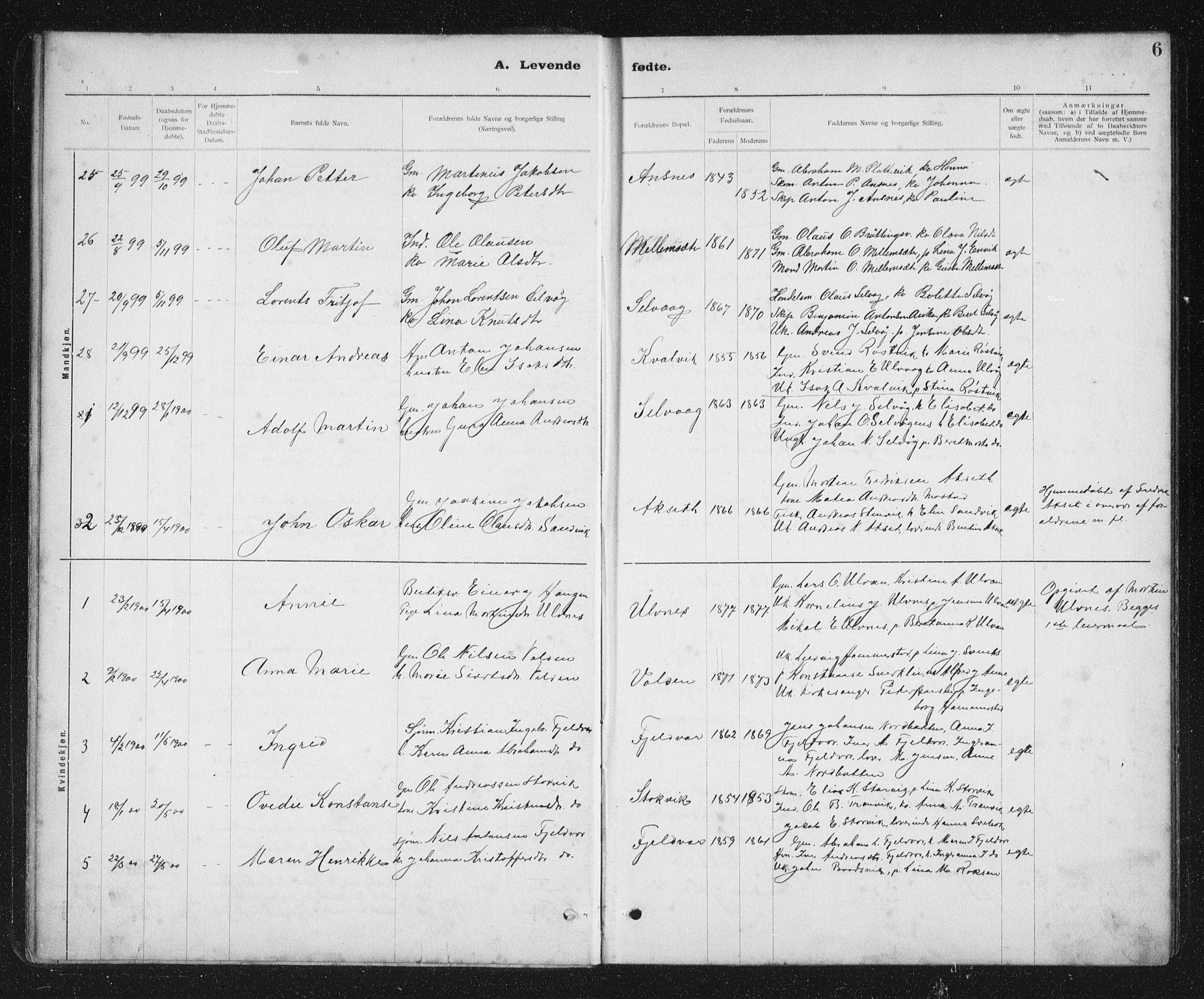 SAT, Ministerialprotokoller, klokkerbøker og fødselsregistre - Sør-Trøndelag, 637/L0563: Klokkerbok nr. 637C04, 1899-1940, s. 6