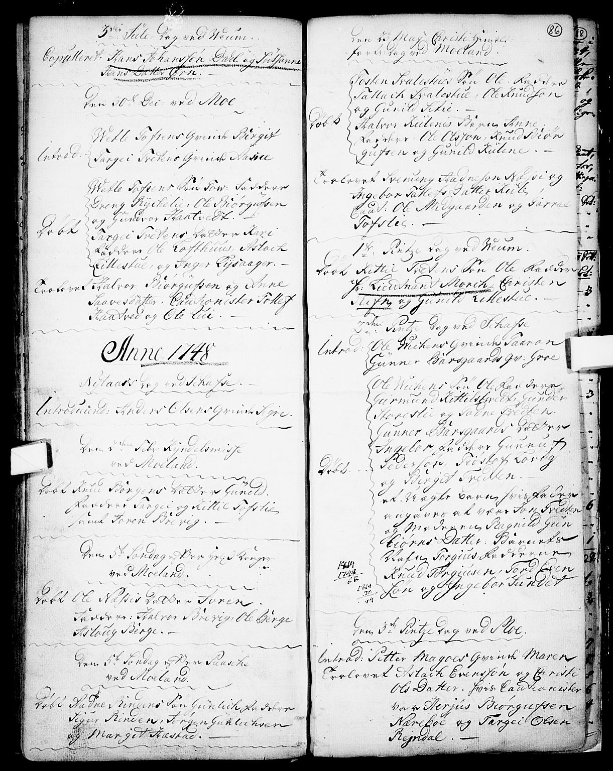 SAKO, Fyresdal kirkebøker, F/Fa/L0001: Ministerialbok nr. I 1, 1724-1748, s. 86