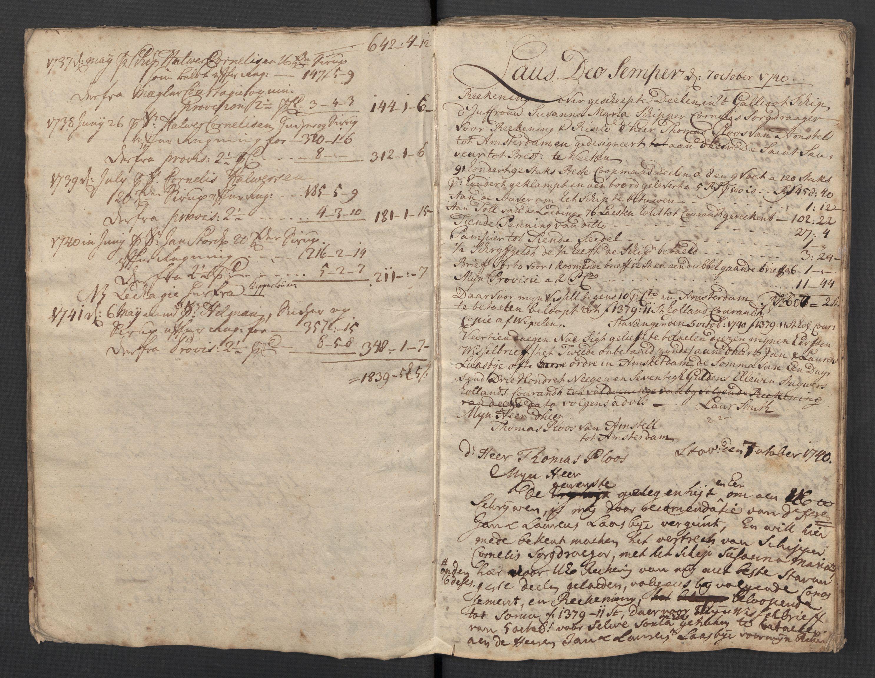 SAST, Pa 0119 - Smith, Lauritz Andersen og Lauritz Lauritzen, O/L0001: Kopibøker m.m., 1740-1745, s. 9