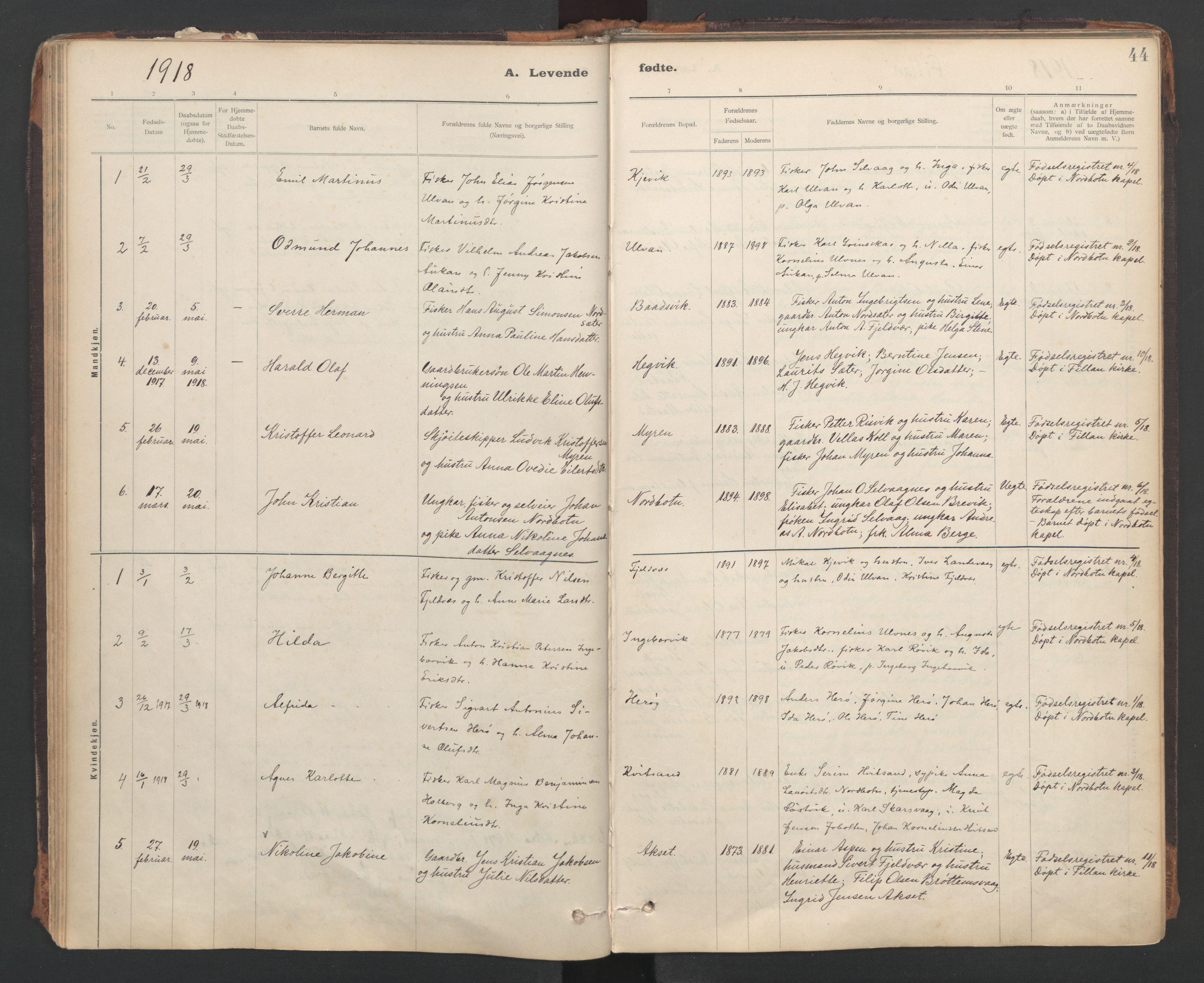 SAT, Ministerialprotokoller, klokkerbøker og fødselsregistre - Sør-Trøndelag, 637/L0559: Ministerialbok nr. 637A02, 1899-1923, s. 44