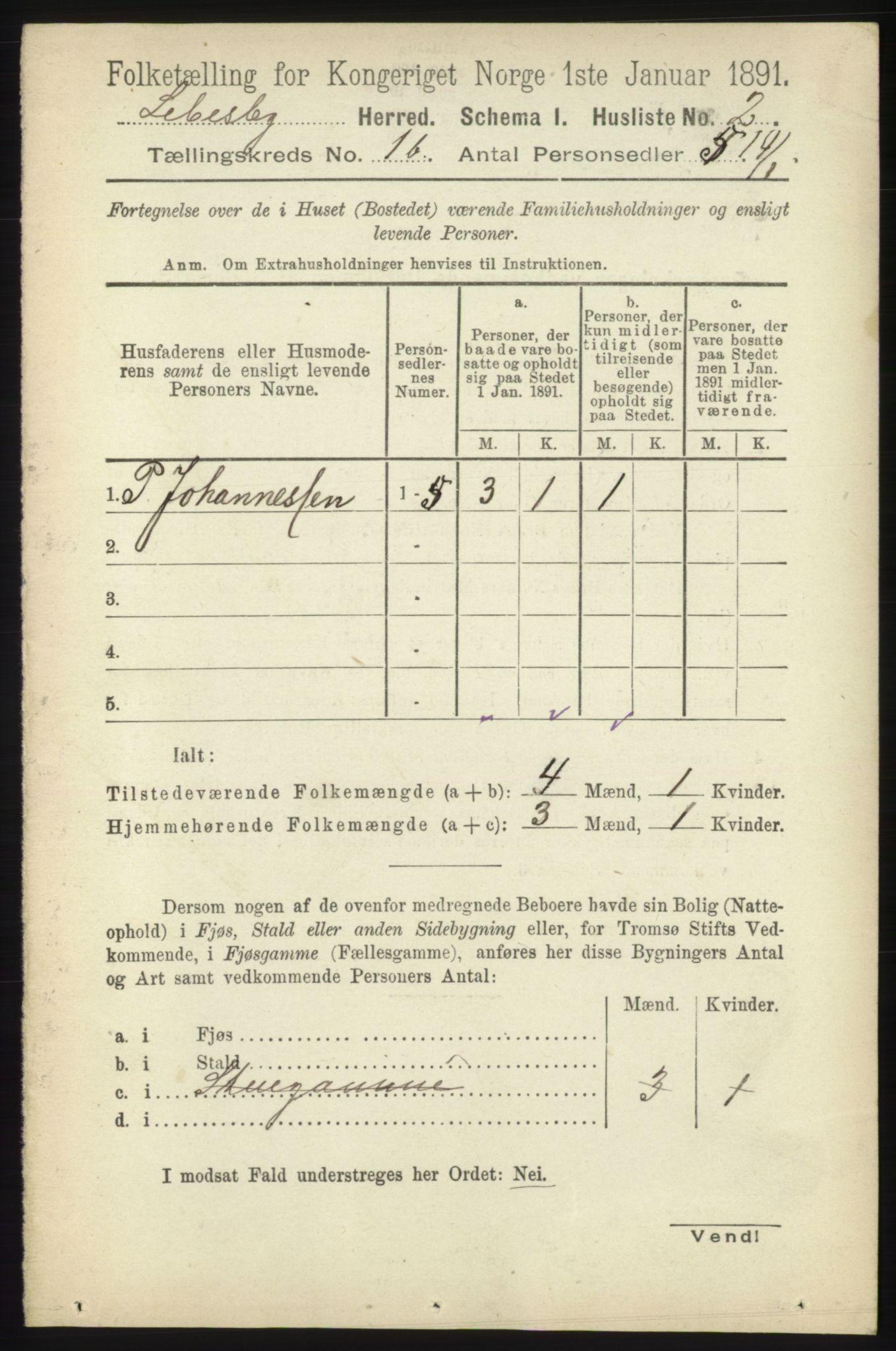 RA, Folketelling 1891 for 2022 Lebesby herred, 1891, s. 80