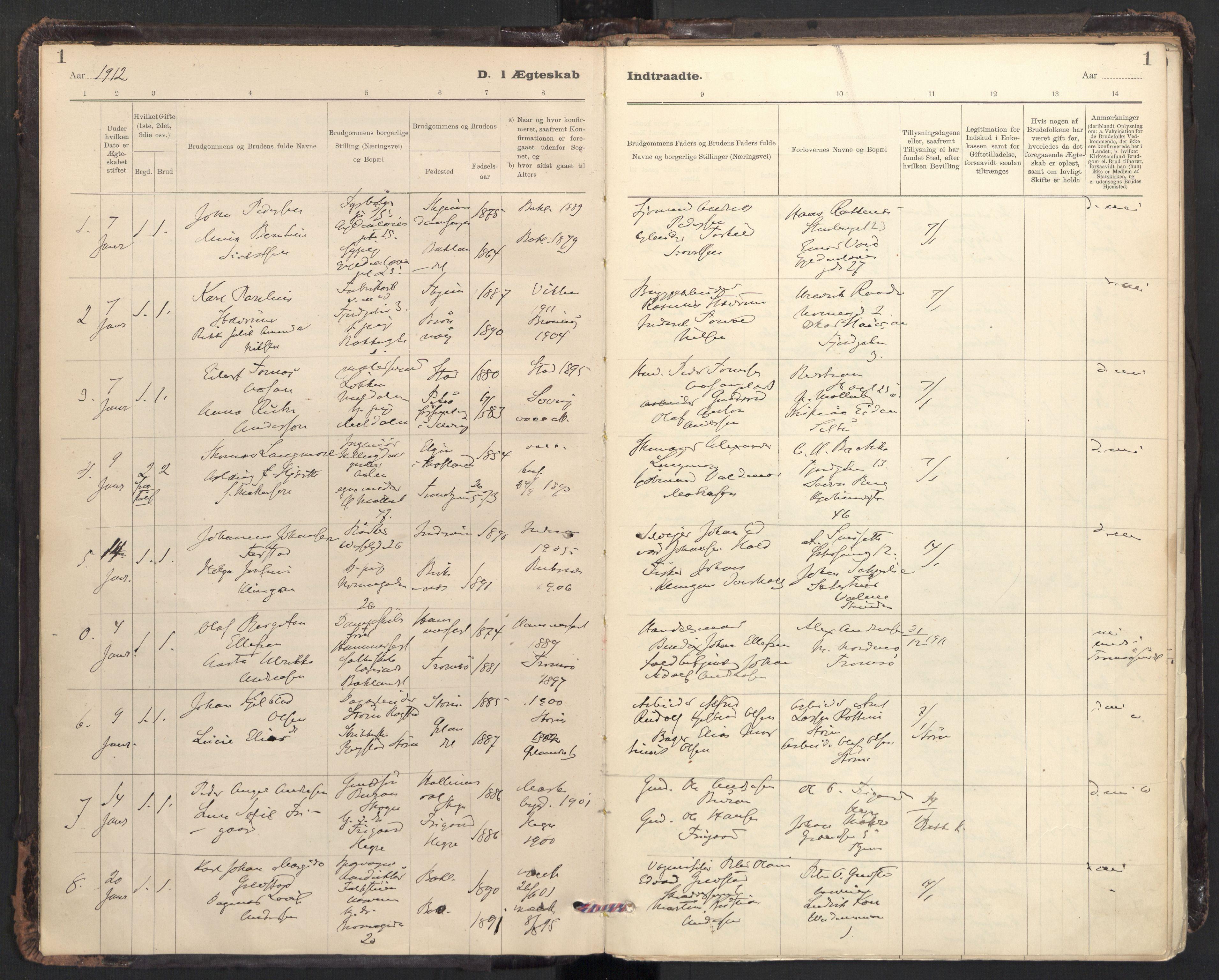 SAT, Ministerialprotokoller, klokkerbøker og fødselsregistre - Sør-Trøndelag, 604/L0204: Ministerialbok nr. 604A24, 1911-1920, s. 1