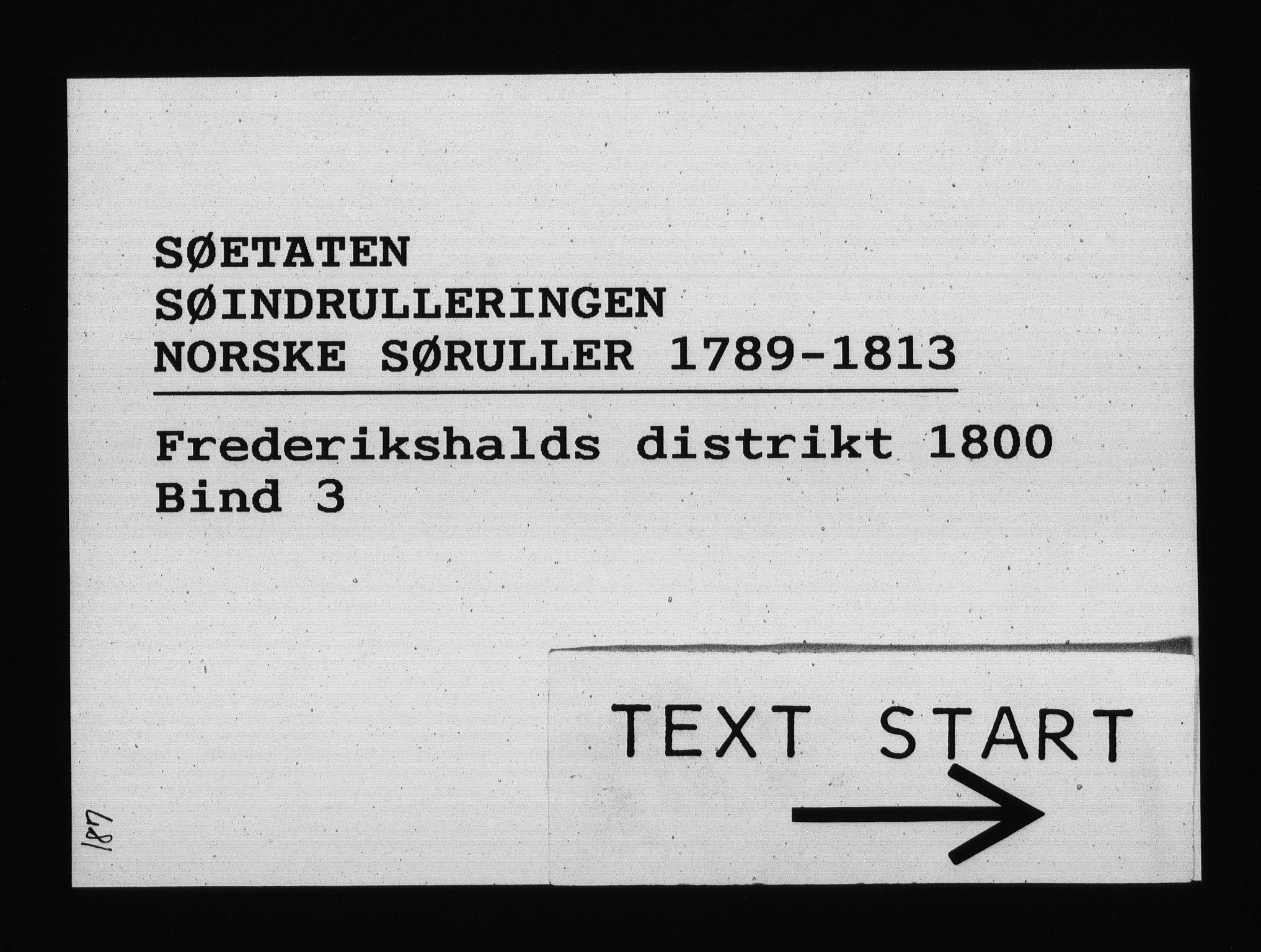 RA, Sjøetaten, F/L0188: Fredrikshalds distrikt, bind 3, 1800
