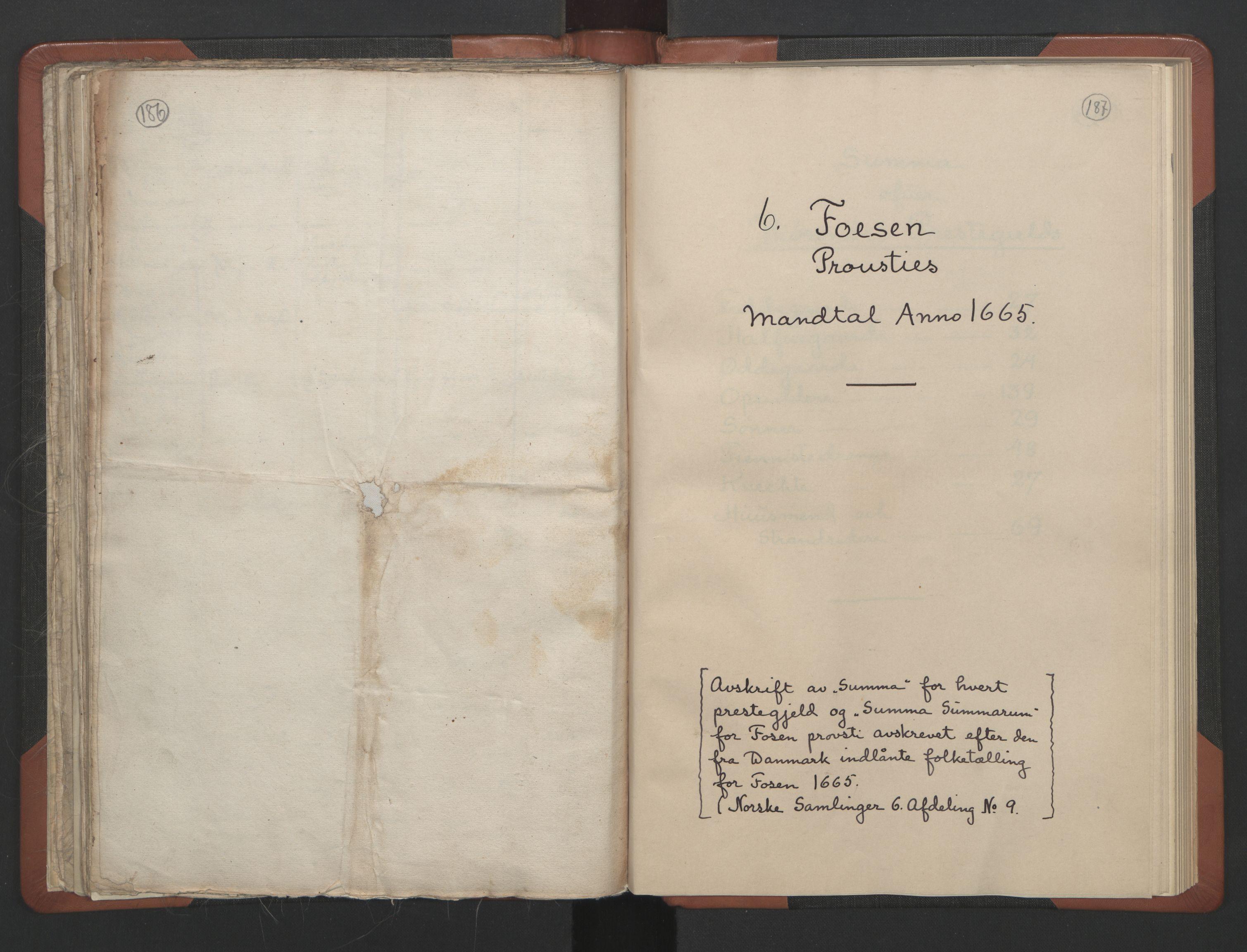 RA, Sogneprestenes manntall 1664-1666, nr. 30: Fosen prosti, 1664-1666, s. 186-187