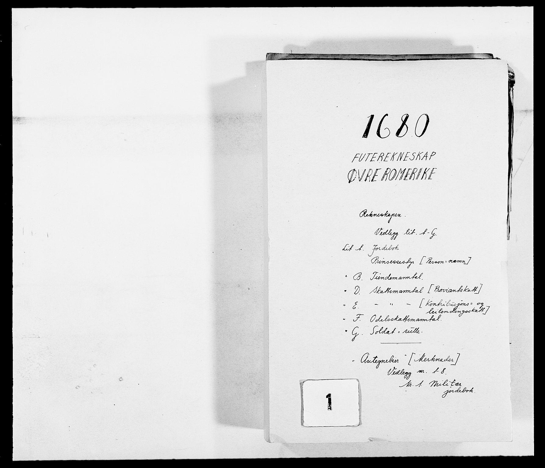 RA, Rentekammeret inntil 1814, Reviderte regnskaper, Fogderegnskap, R12/L0695: Fogderegnskap Øvre Romerike, 1680, s. 1
