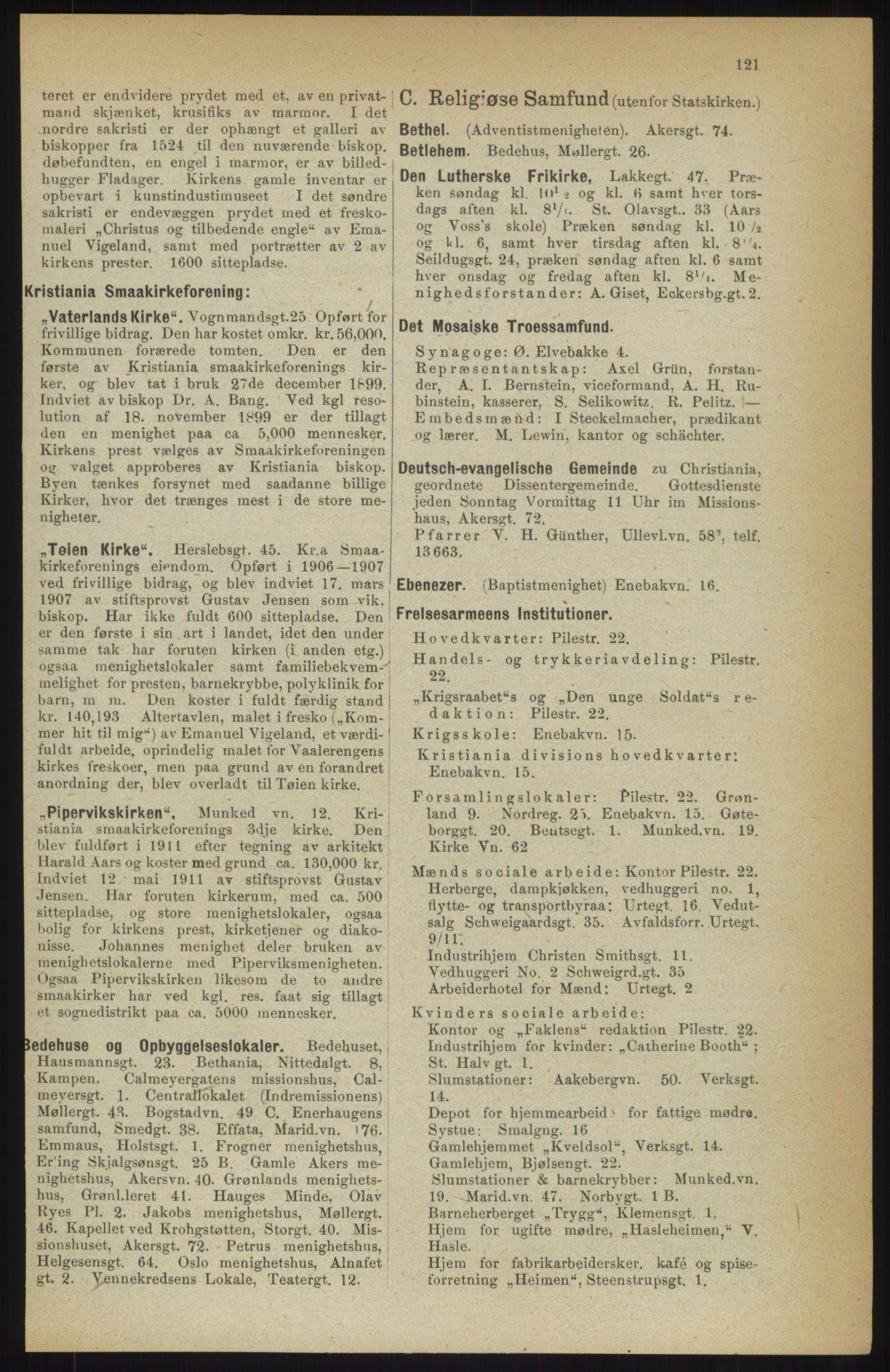 RA, Kristiania adressebok (publikasjon)*, 1914, s. 121