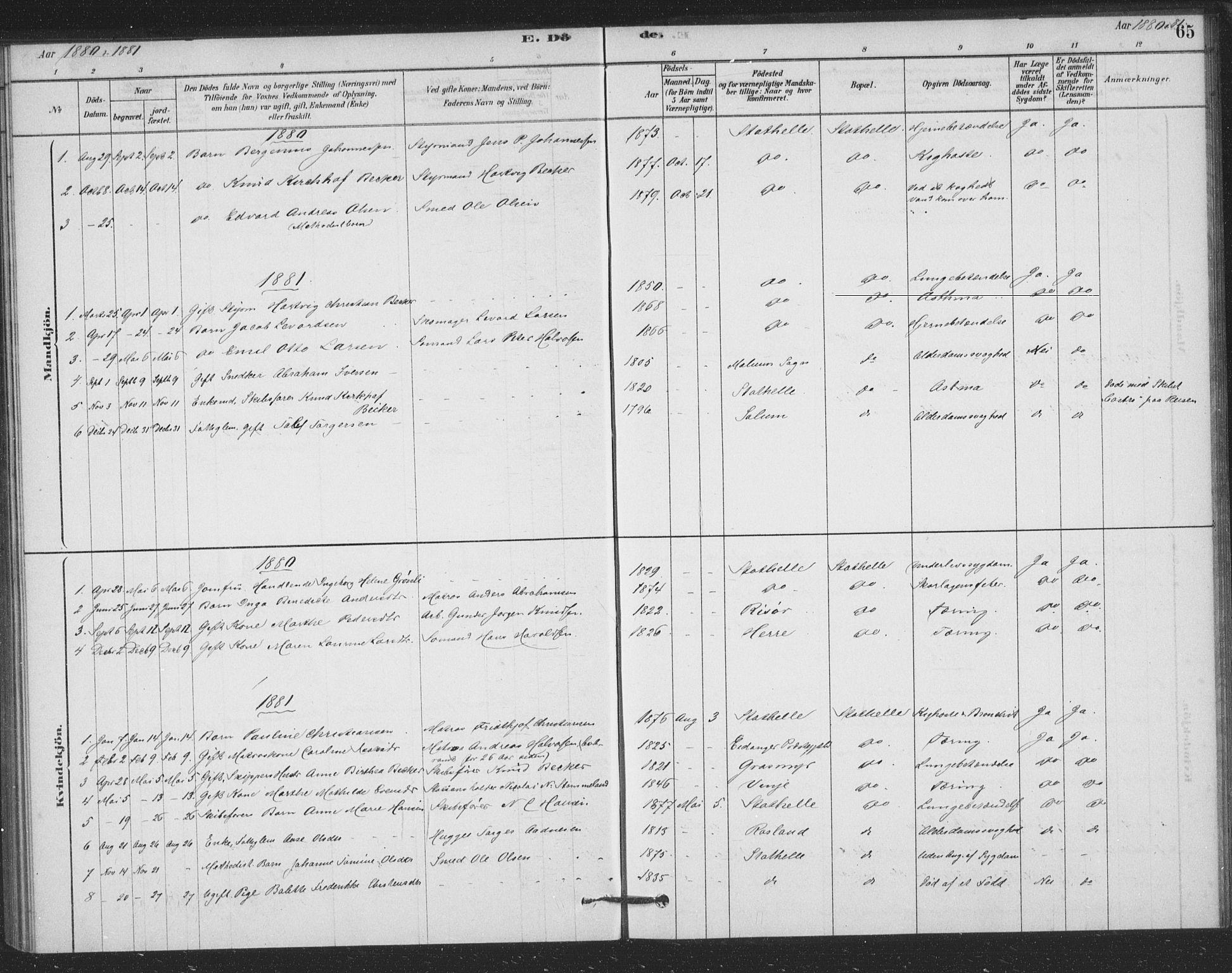 SAKO, Bamble kirkebøker, F/Fb/L0001: Ministerialbok nr. II 1, 1878-1899, s. 65