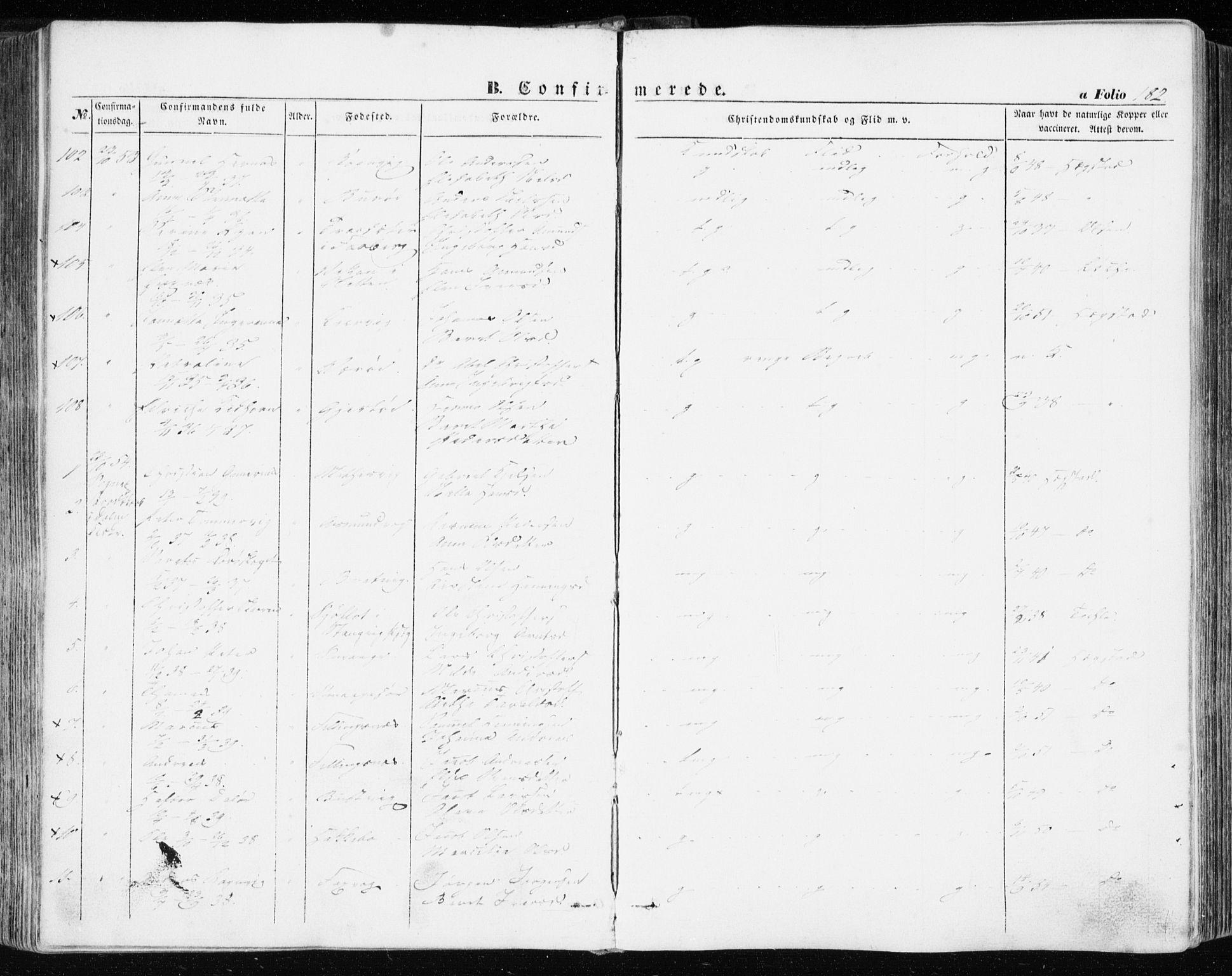 SAT, Ministerialprotokoller, klokkerbøker og fødselsregistre - Sør-Trøndelag, 634/L0530: Ministerialbok nr. 634A06, 1852-1860, s. 182