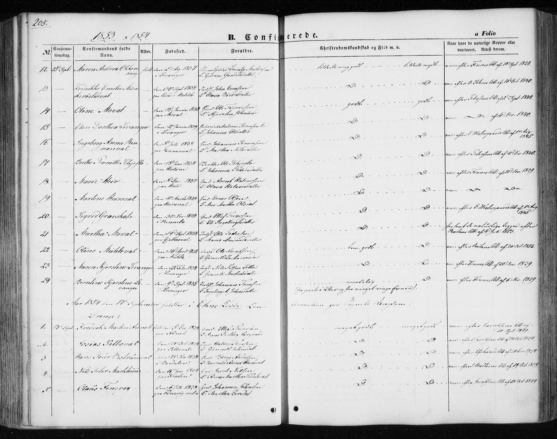 SAT, Ministerialprotokoller, klokkerbøker og fødselsregistre - Nord-Trøndelag, 717/L0154: Ministerialbok nr. 717A07 /1, 1850-1862, s. 205