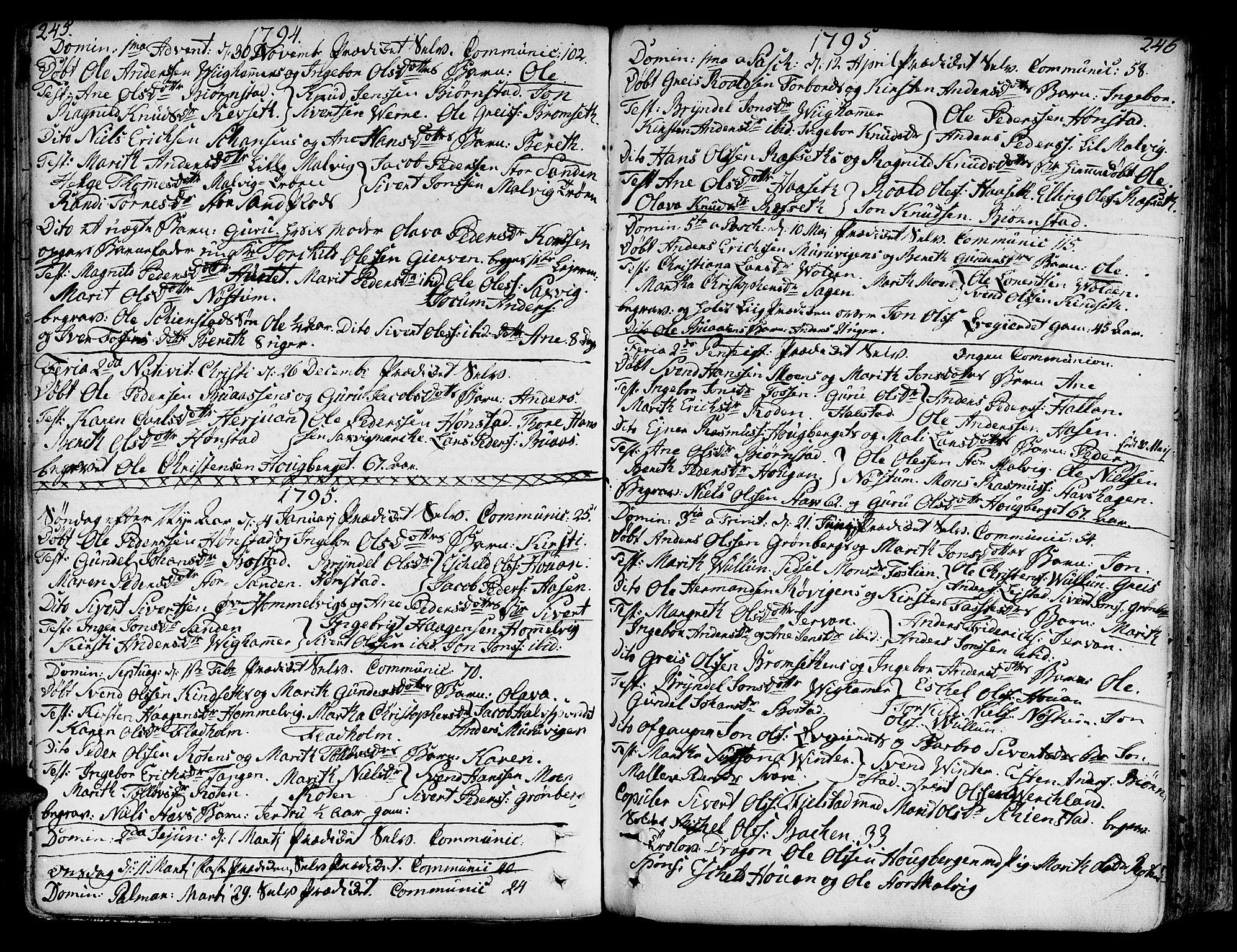 SAT, Ministerialprotokoller, klokkerbøker og fødselsregistre - Sør-Trøndelag, 606/L0281: Ministerialbok nr. 606A02 /2, 1781-1817, s. 245-246