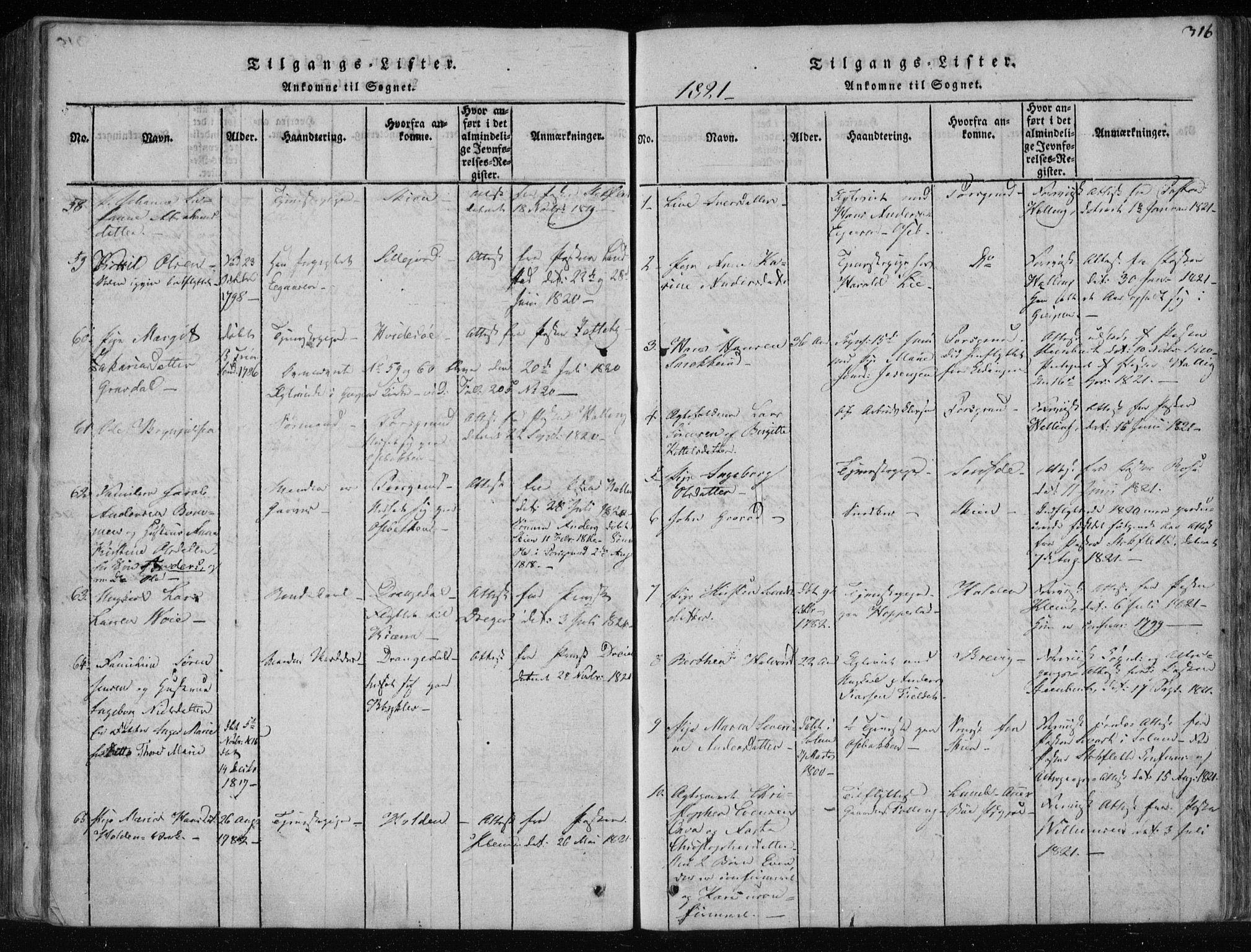 SAKO, Gjerpen kirkebøker, F/Fa/L0004: Ministerialbok nr. 4, 1814-1823, s. 316