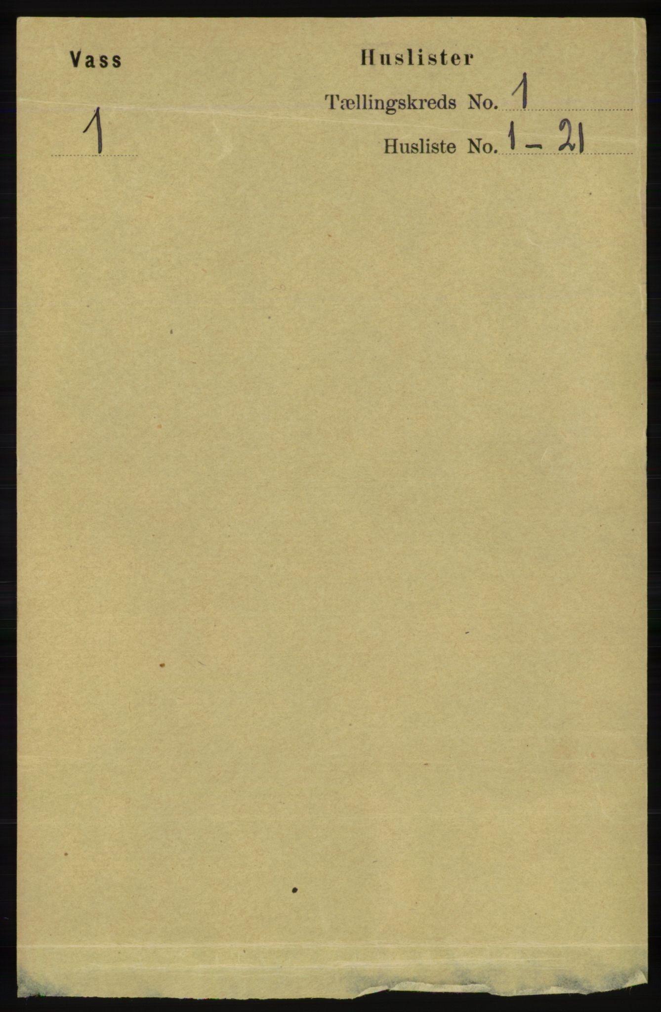 RA, Folketelling 1891 for 1155 Vats herred, 1891, s. 22