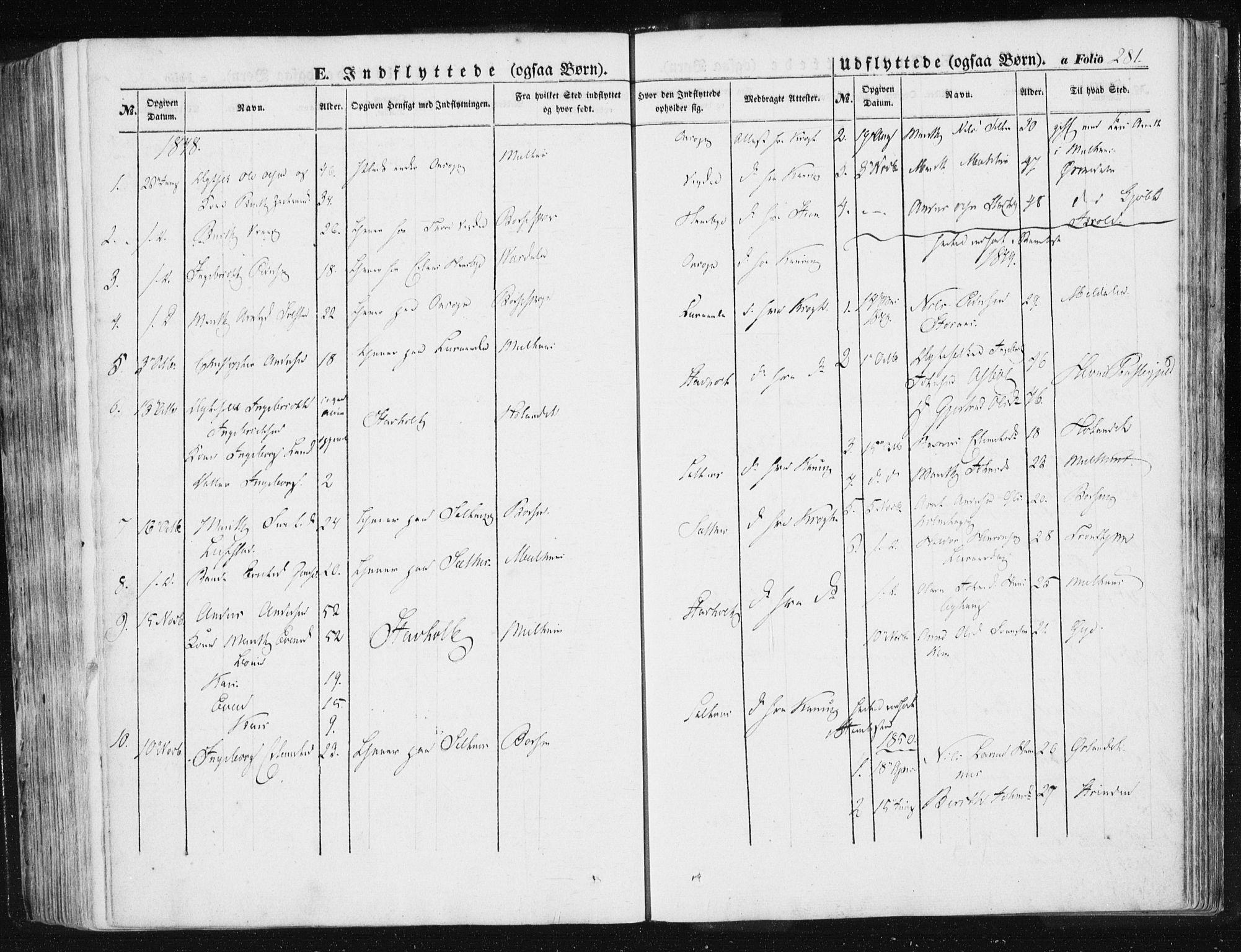 SAT, Ministerialprotokoller, klokkerbøker og fødselsregistre - Sør-Trøndelag, 612/L0376: Ministerialbok nr. 612A08, 1846-1859, s. 281