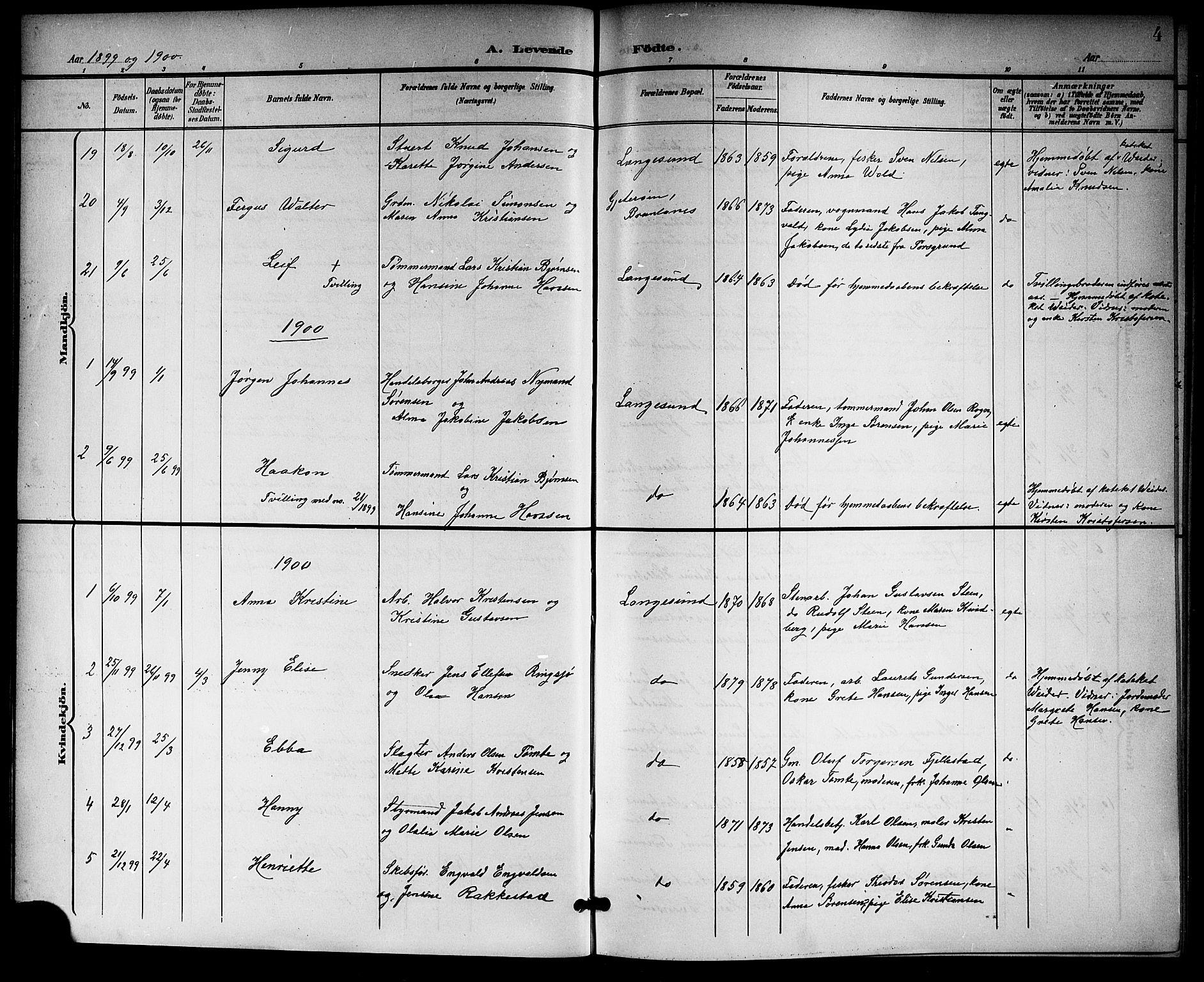 SAKO, Langesund kirkebøker, G/Ga/L0006: Klokkerbok nr. 6, 1899-1918, s. 4