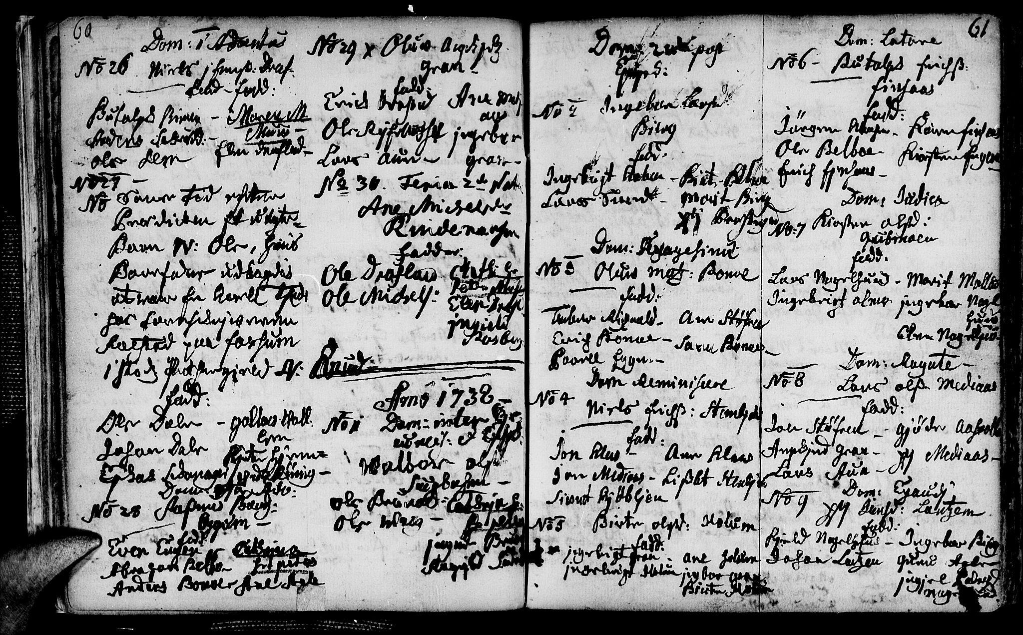 SAT, Ministerialprotokoller, klokkerbøker og fødselsregistre - Nord-Trøndelag, 749/L0467: Ministerialbok nr. 749A01, 1733-1787, s. 60-61