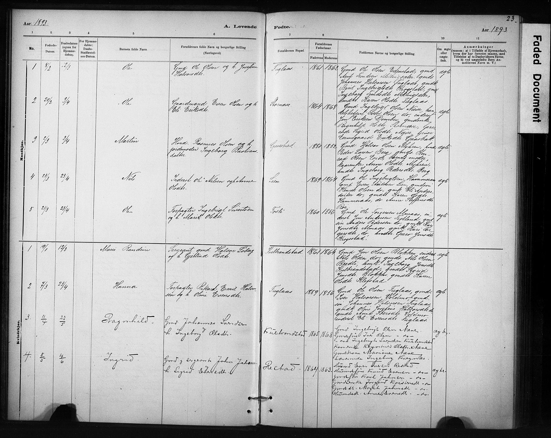 SAT, Ministerialprotokoller, klokkerbøker og fødselsregistre - Sør-Trøndelag, 694/L1127: Ministerialbok nr. 694A01, 1887-1905, s. 23