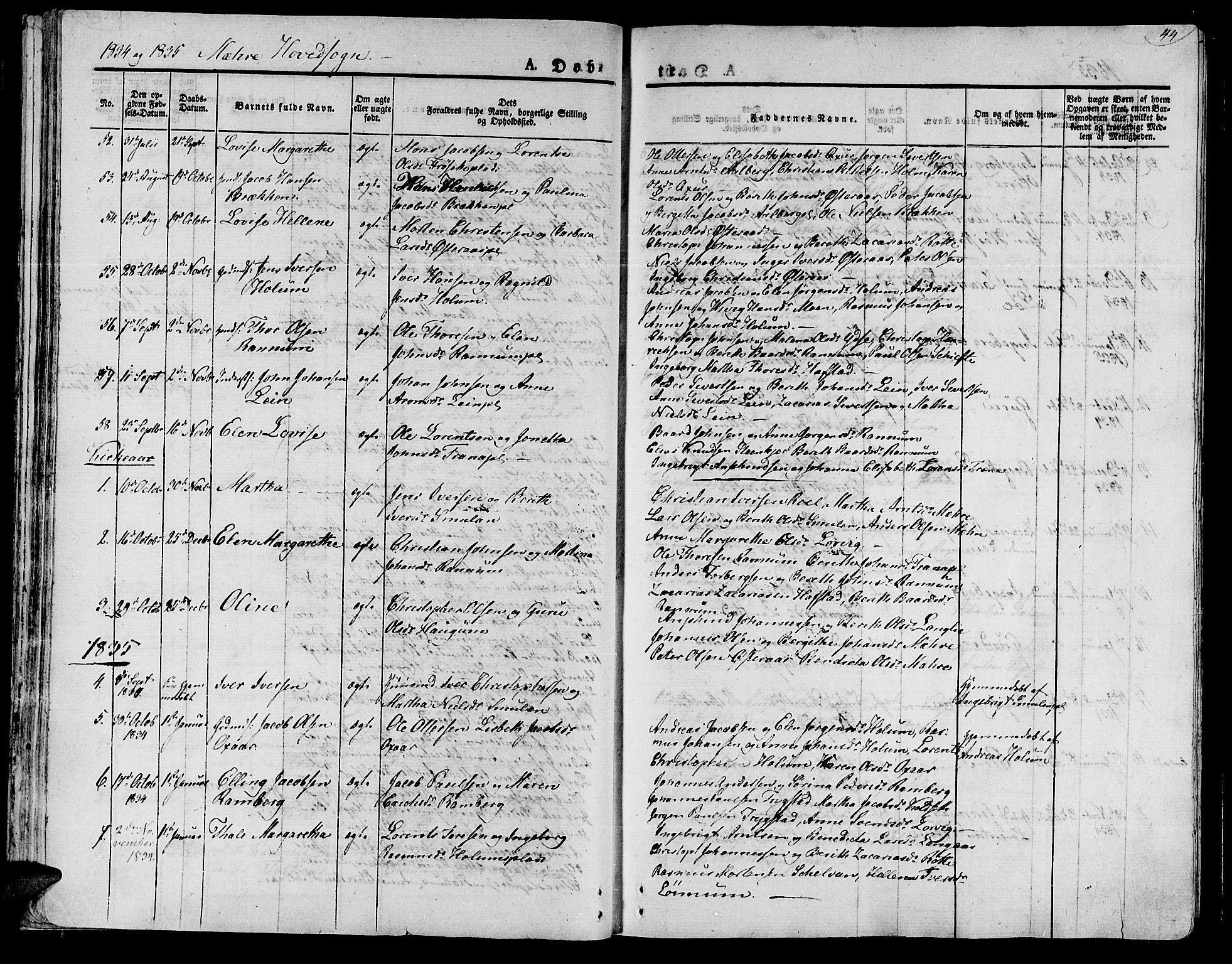 SAT, Ministerialprotokoller, klokkerbøker og fødselsregistre - Nord-Trøndelag, 735/L0336: Ministerialbok nr. 735A05 /1, 1825-1835, s. 44