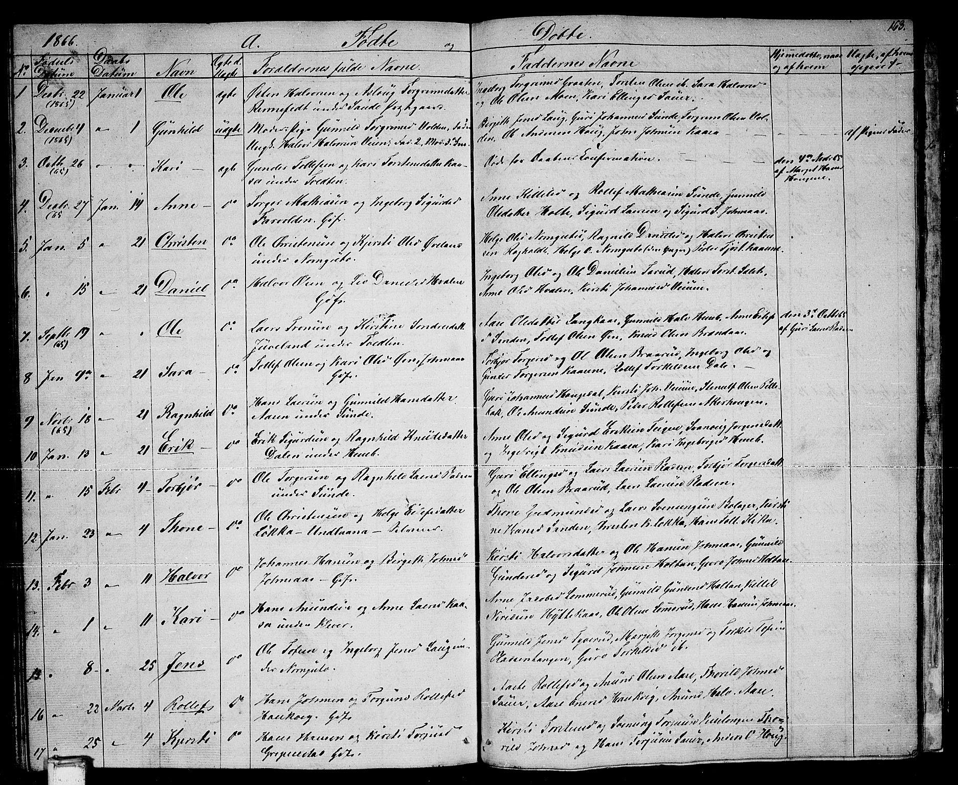 SAKO, Sauherad kirkebøker, G/Ga/L0002: Klokkerbok nr. I 2, 1842-1866, s. 163