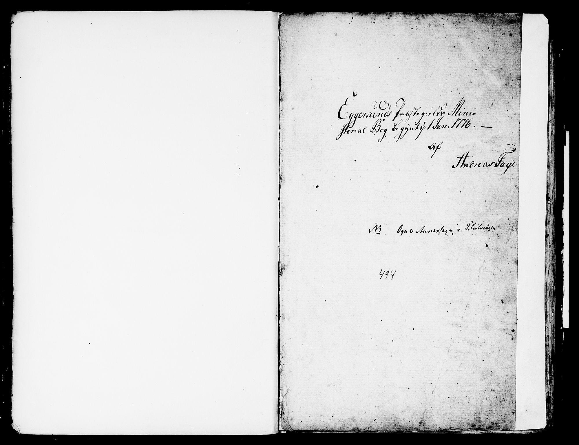 SAST, Egersund sokneprestkontor, Ministerialbok nr. A 4 /2, 1776-1789
