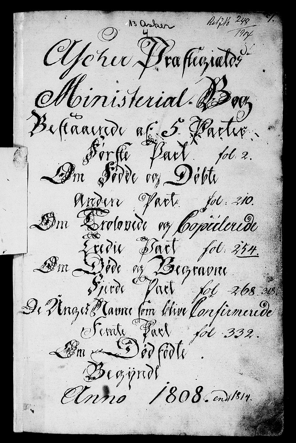 SAO, Asker prestekontor Kirkebøker, F/Fa/L0005: Ministerialbok nr. I 5, 1807-1813, s. 1