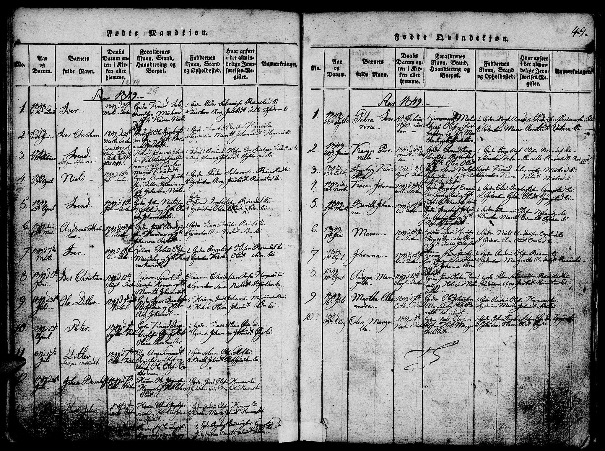 SAT, Ministerialprotokoller, klokkerbøker og fødselsregistre - Nord-Trøndelag, 765/L0562: Klokkerbok nr. 765C01, 1817-1851, s. 49