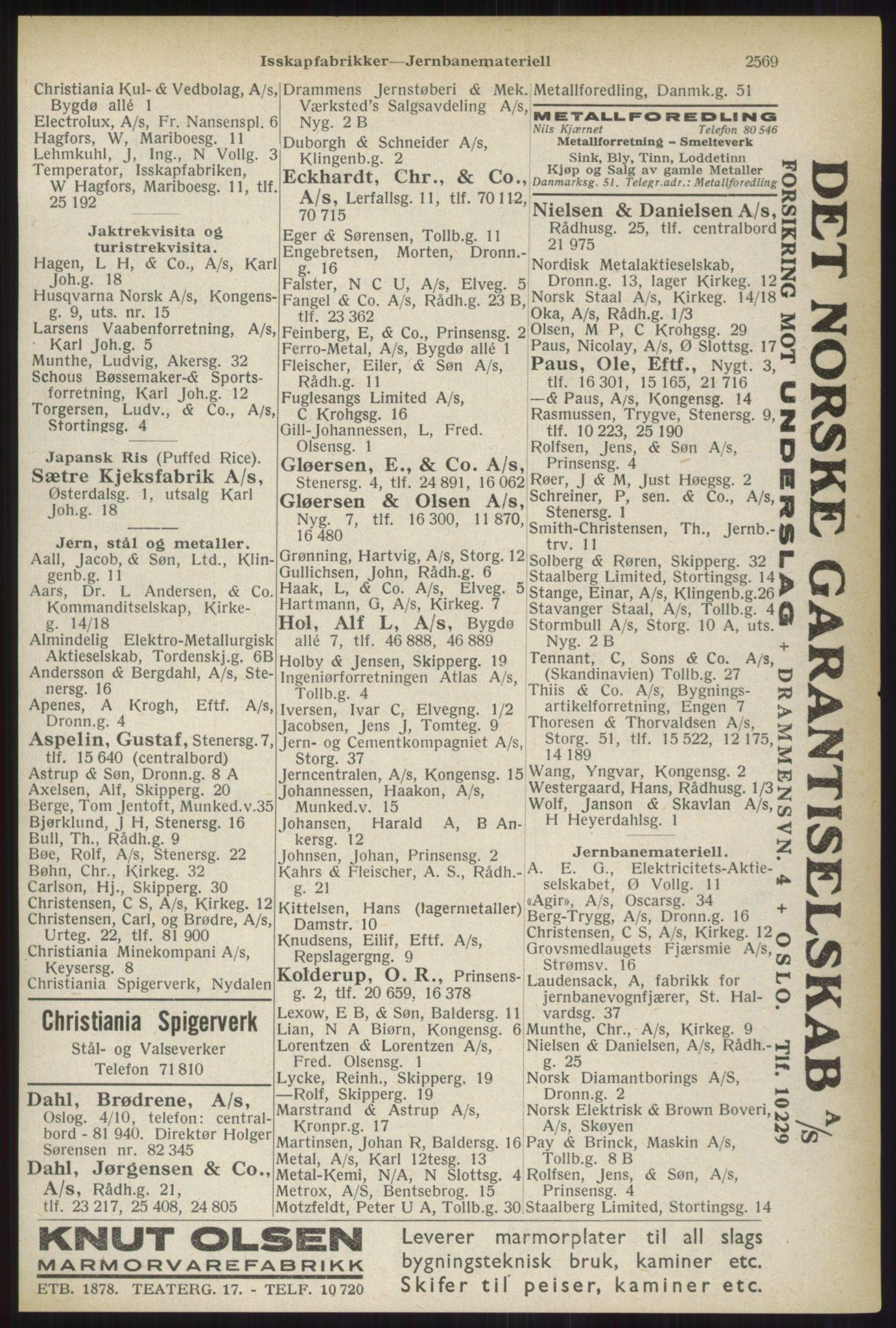 RA, Oslo adressebok (publikasjon)*, 1937, s. 2569
