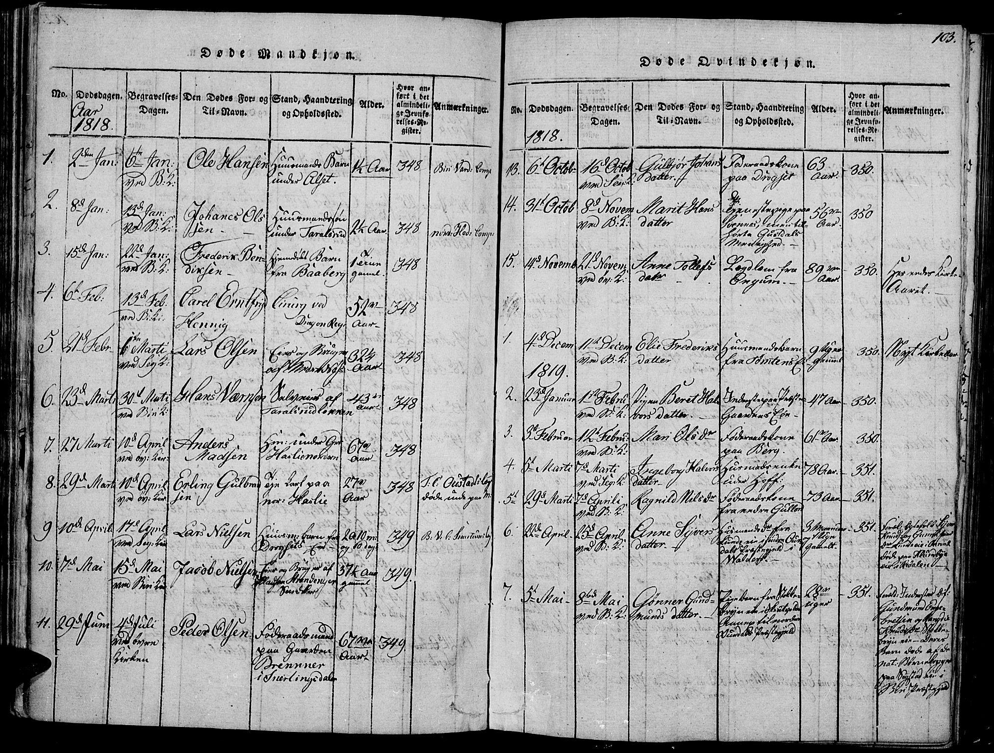 SAH, Biri prestekontor, Ministerialbok nr. 3, 1814-1828, s. 103