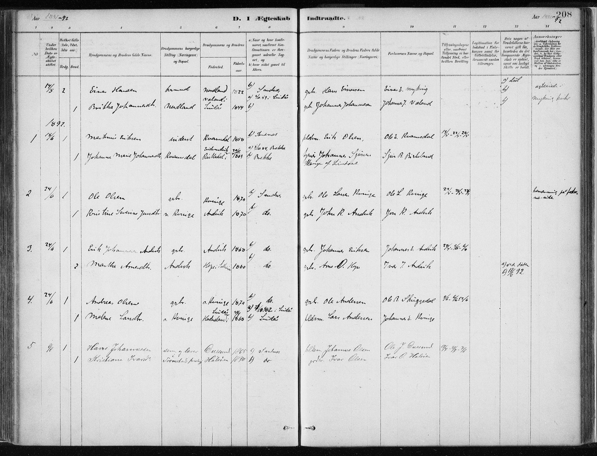 SAB, Masfjorden Soknepresembete, Ministerialbok nr. B  1, 1876-1899, s. 208