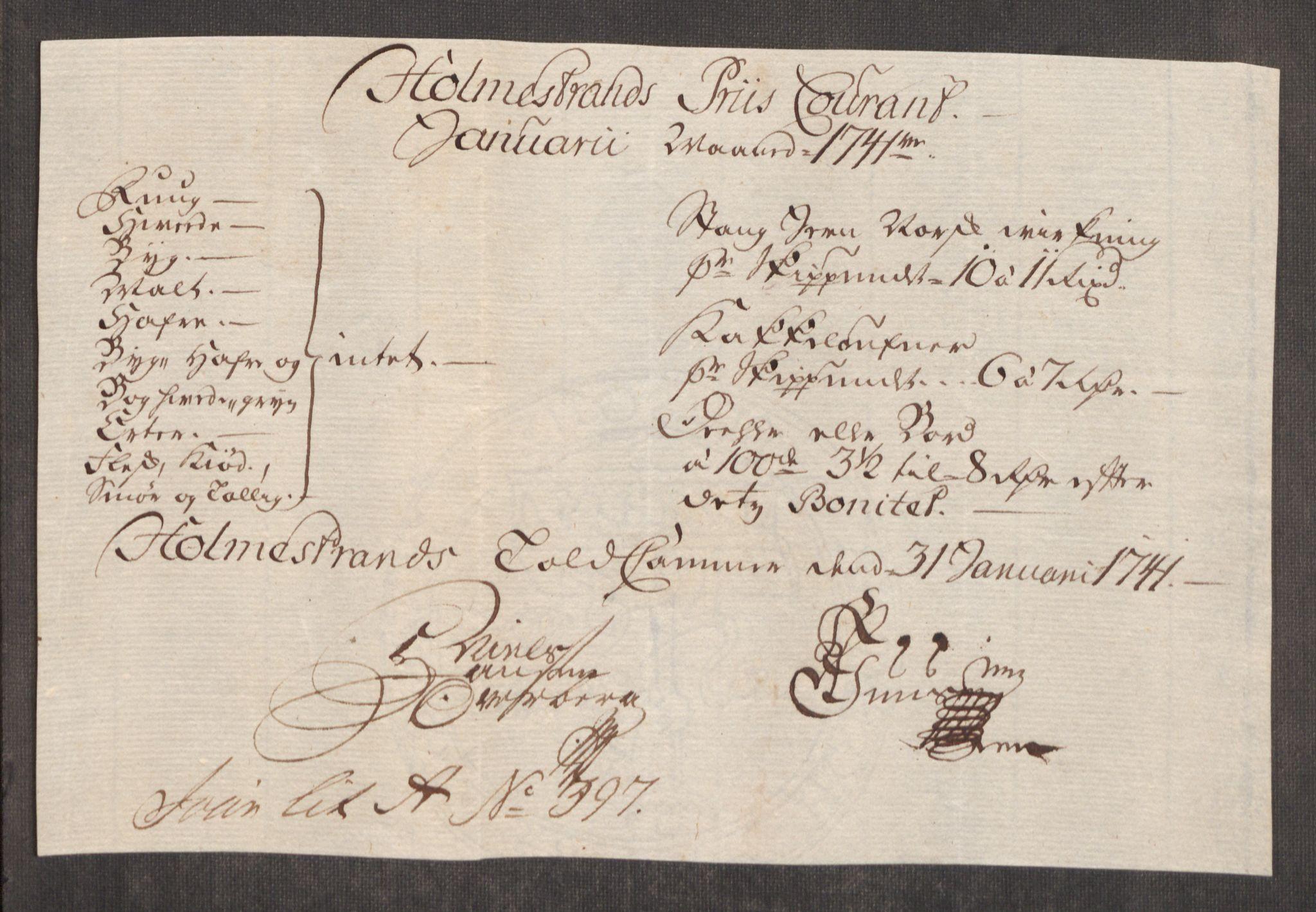 RA, Rentekammeret inntil 1814, Realistisk ordnet avdeling, Oe/L0002: [Ø1]: Priskuranter, 1740-1744, s. 267