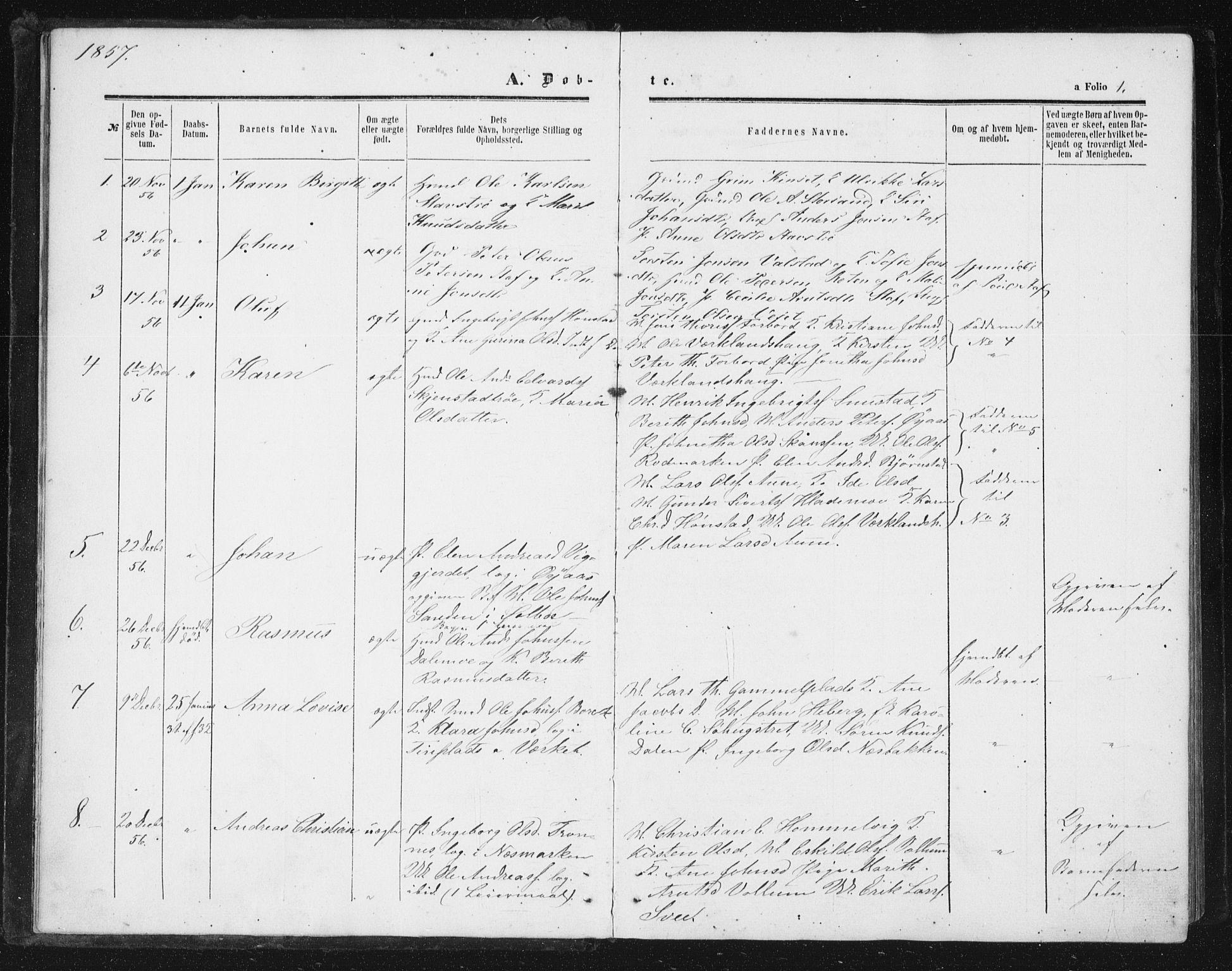 SAT, Ministerialprotokoller, klokkerbøker og fødselsregistre - Sør-Trøndelag, 616/L0408: Ministerialbok nr. 616A05, 1857-1865, s. 1