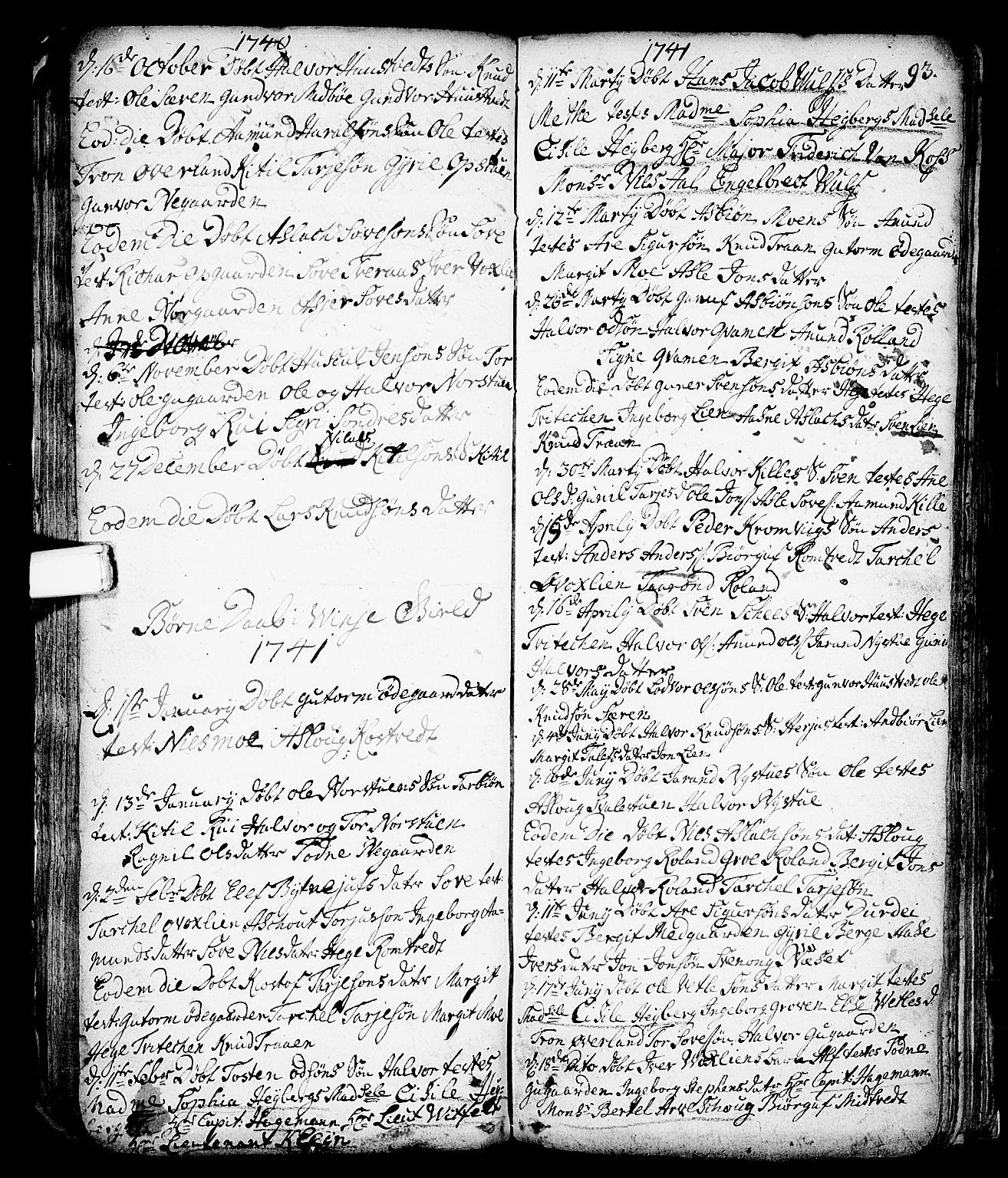 SAKO, Vinje kirkebøker, F/Fa/L0001: Ministerialbok nr. I 1, 1717-1766, s. 93