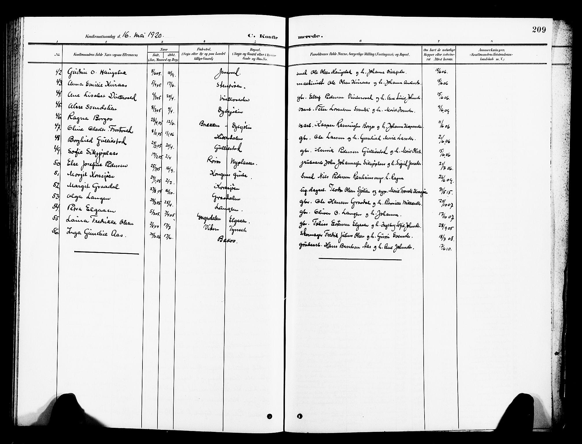 SAT, Ministerialprotokoller, klokkerbøker og fødselsregistre - Sør-Trøndelag, 681/L0942: Klokkerbok nr. 681C06, 1906-1925, s. 209
