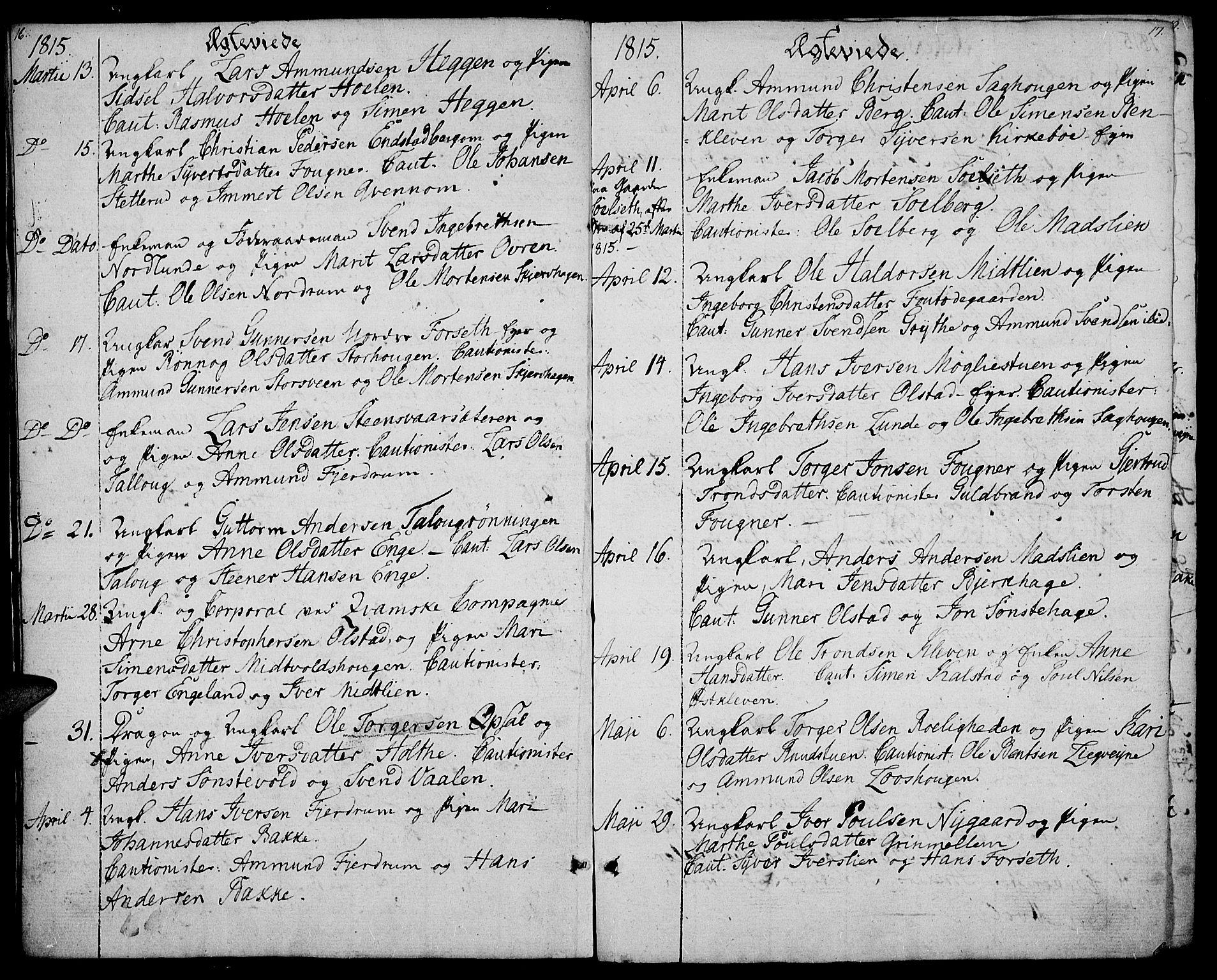 SAH, Gausdal prestekontor, Ministerialbok nr. 4, 1809-1817, s. 16-17