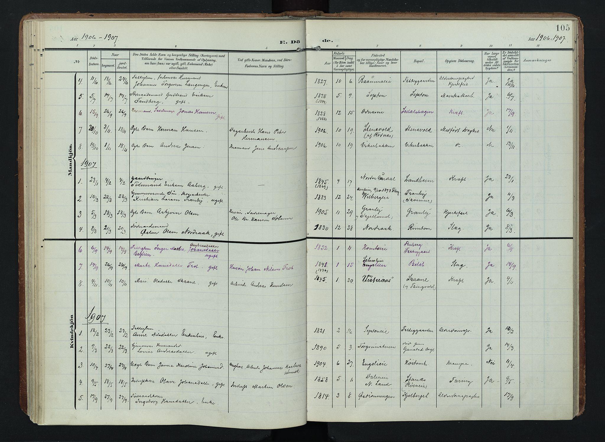 SAH, Søndre Land prestekontor, K/L0005: Ministerialbok nr. 5, 1905-1914, s. 105