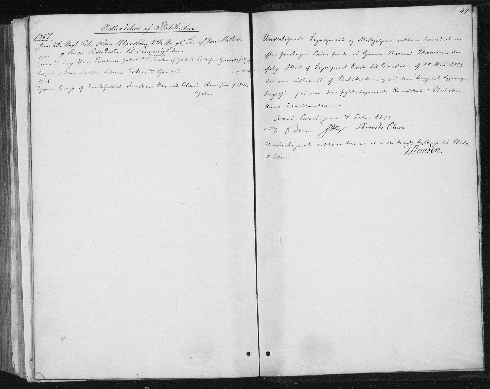SAT, Ministerialprotokoller, klokkerbøker og fødselsregistre - Nord-Trøndelag, 784/L0670: Ministerialbok nr. 784A05, 1860-1876, s. 47