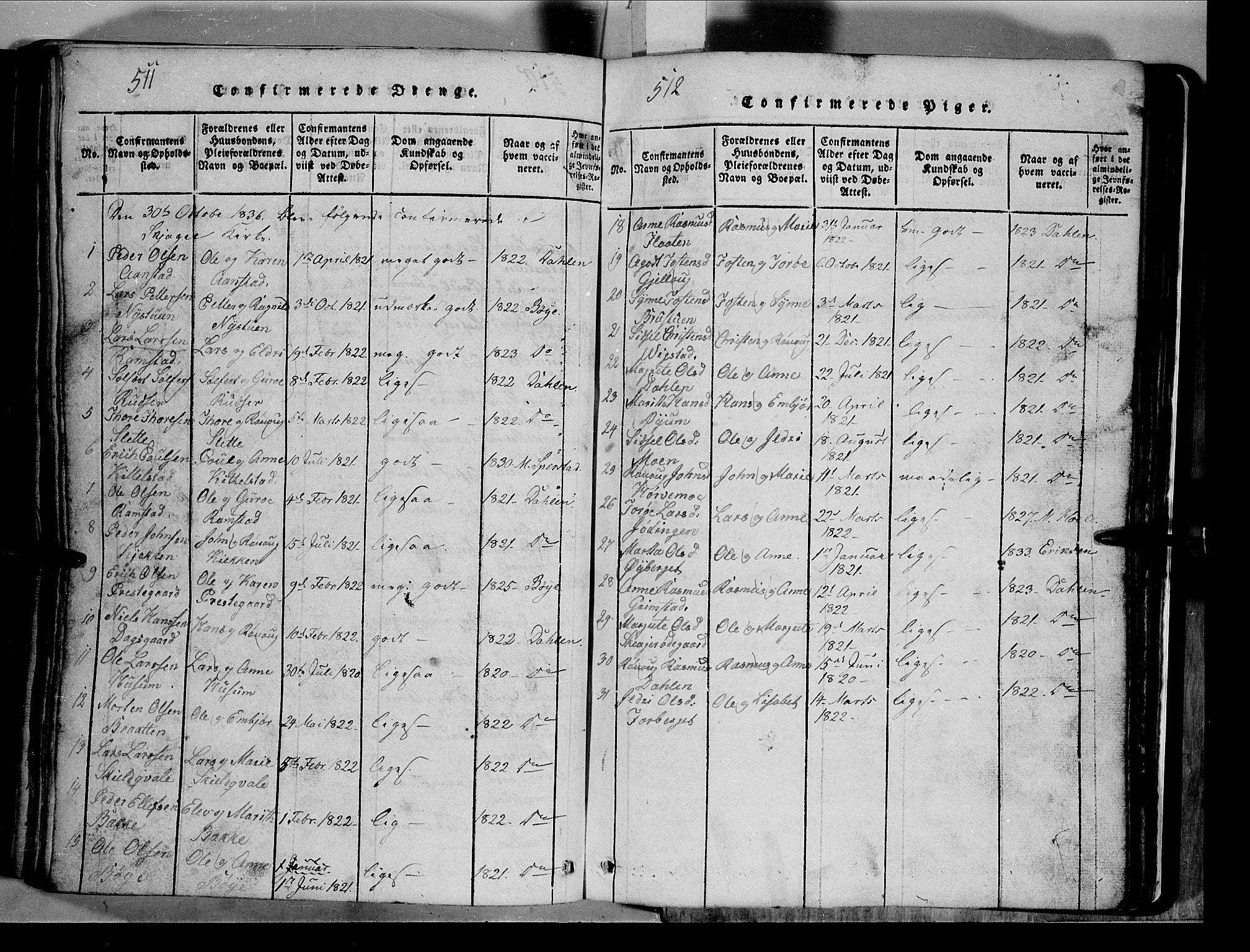 SAH, Lom prestekontor, L/L0003: Klokkerbok nr. 3, 1815-1844, s. 511-512