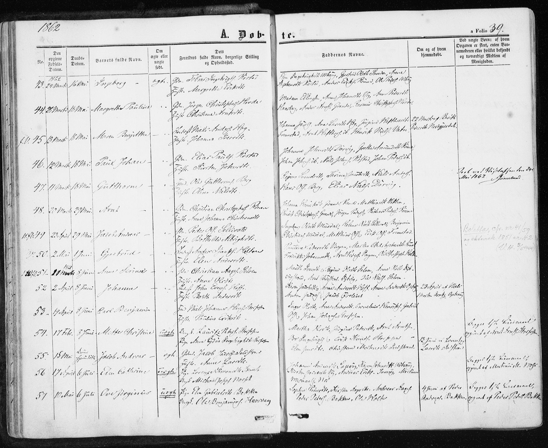 SAT, Ministerialprotokoller, klokkerbøker og fødselsregistre - Sør-Trøndelag, 659/L0737: Ministerialbok nr. 659A07, 1857-1875, s. 39