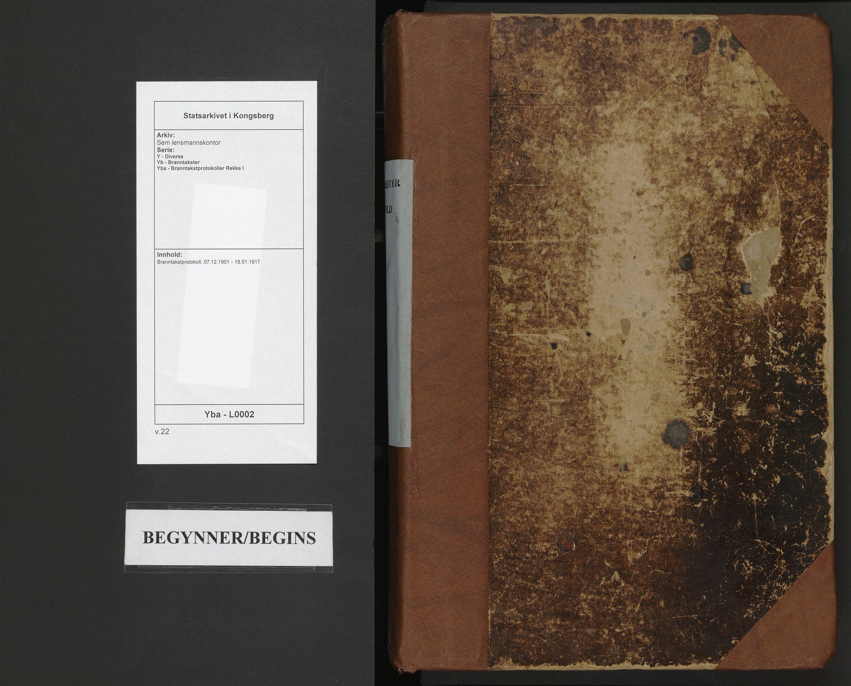 SAKO, Sem lensmannskontor, Y/Yb/Yba/L0002: Branntakstprotokoll, 1901-1917