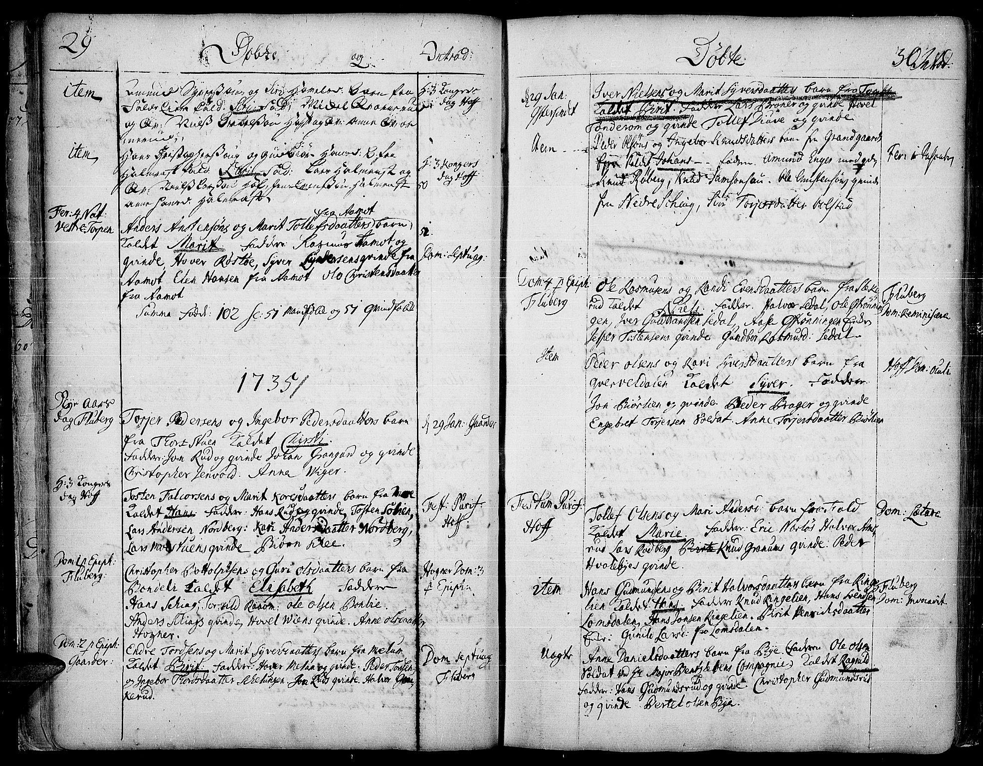 SAH, Land prestekontor, Ministerialbok nr. 2, 1733-1764, s. 29-30