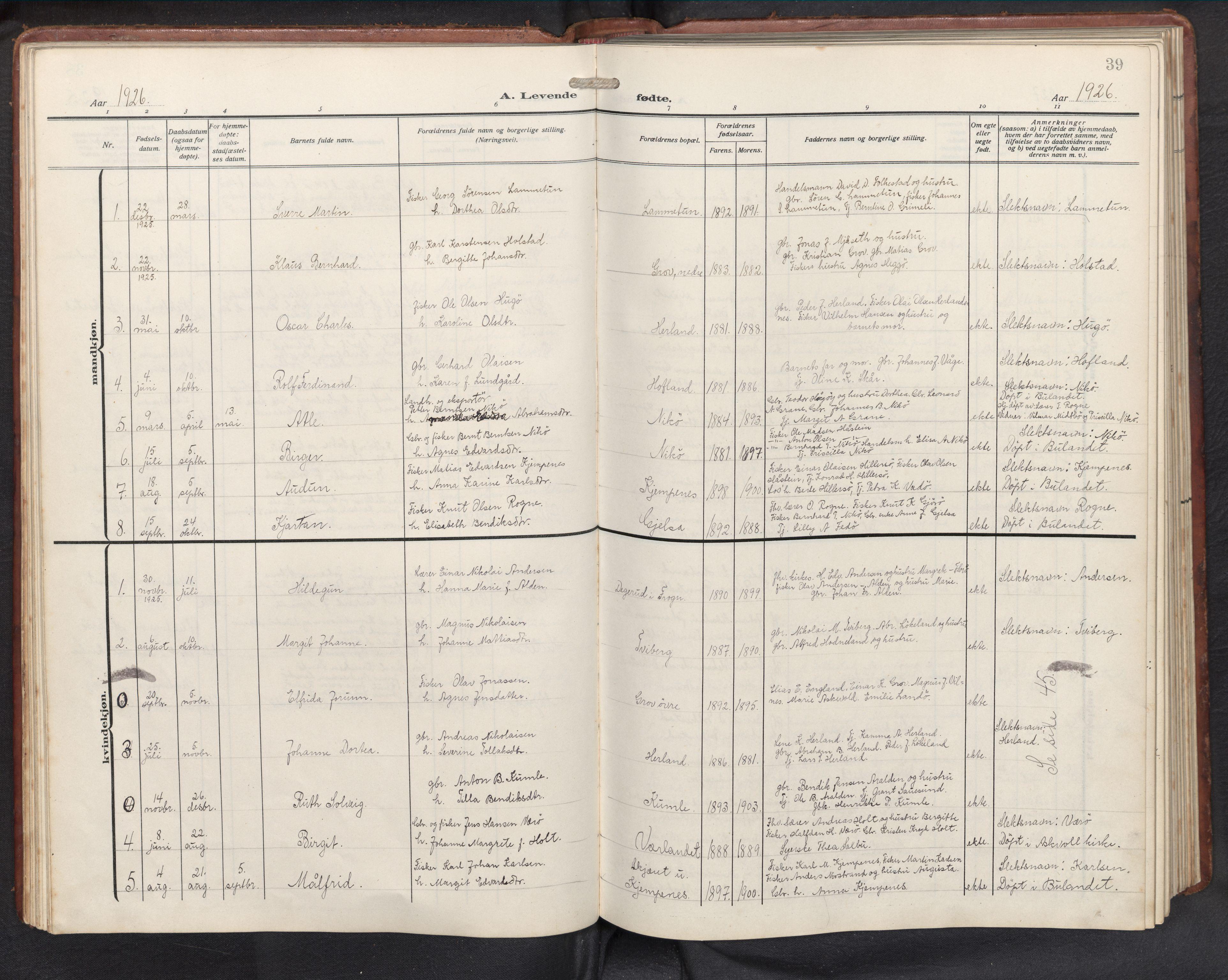 SAB, Askvoll sokneprestembete, H/Hab/Habb/L0002: Klokkerbok nr. B 2, 1910-1947, s. 38b-39a
