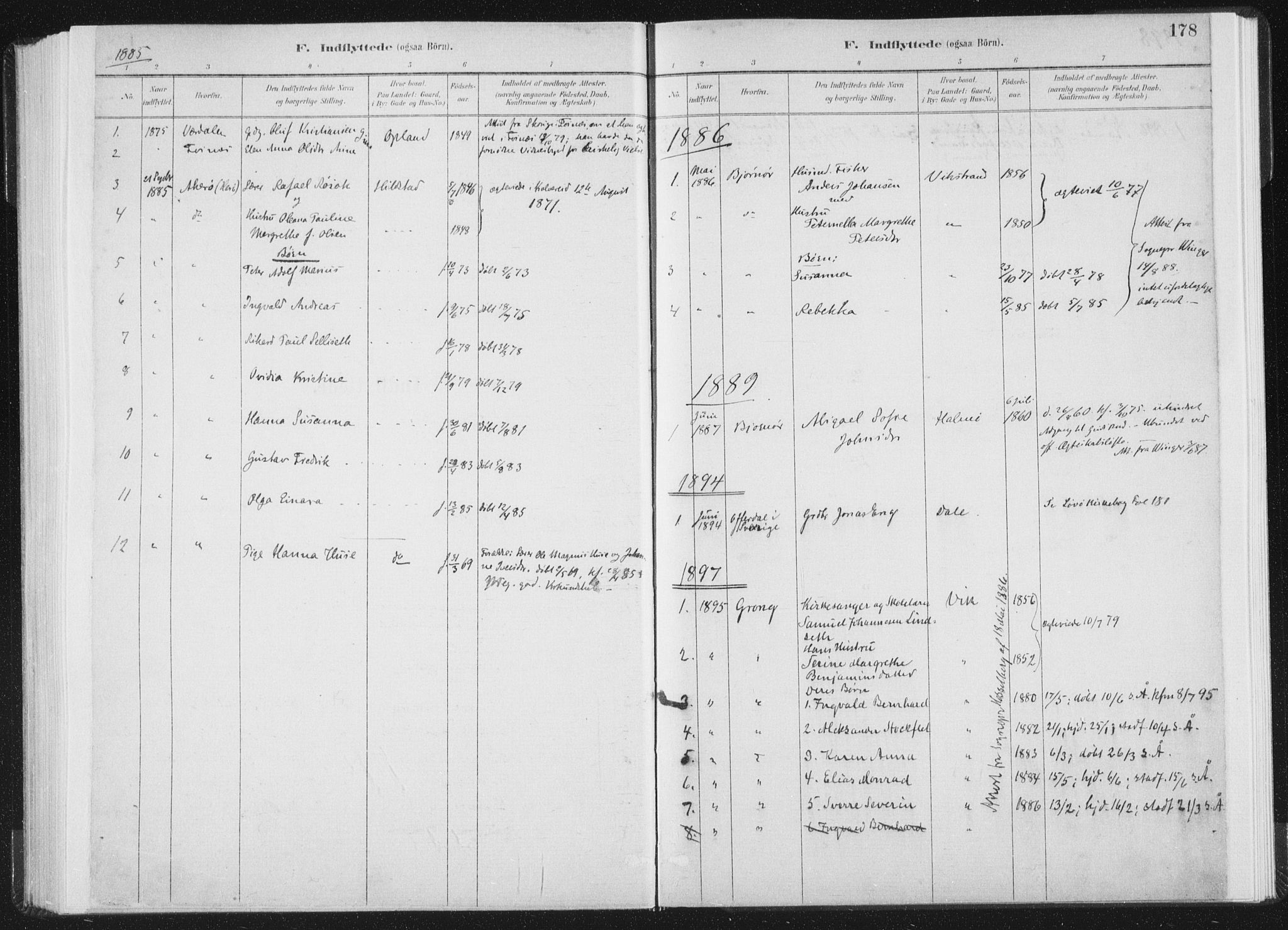 SAT, Ministerialprotokoller, klokkerbøker og fødselsregistre - Nord-Trøndelag, 771/L0597: Ministerialbok nr. 771A04, 1885-1910, s. 178