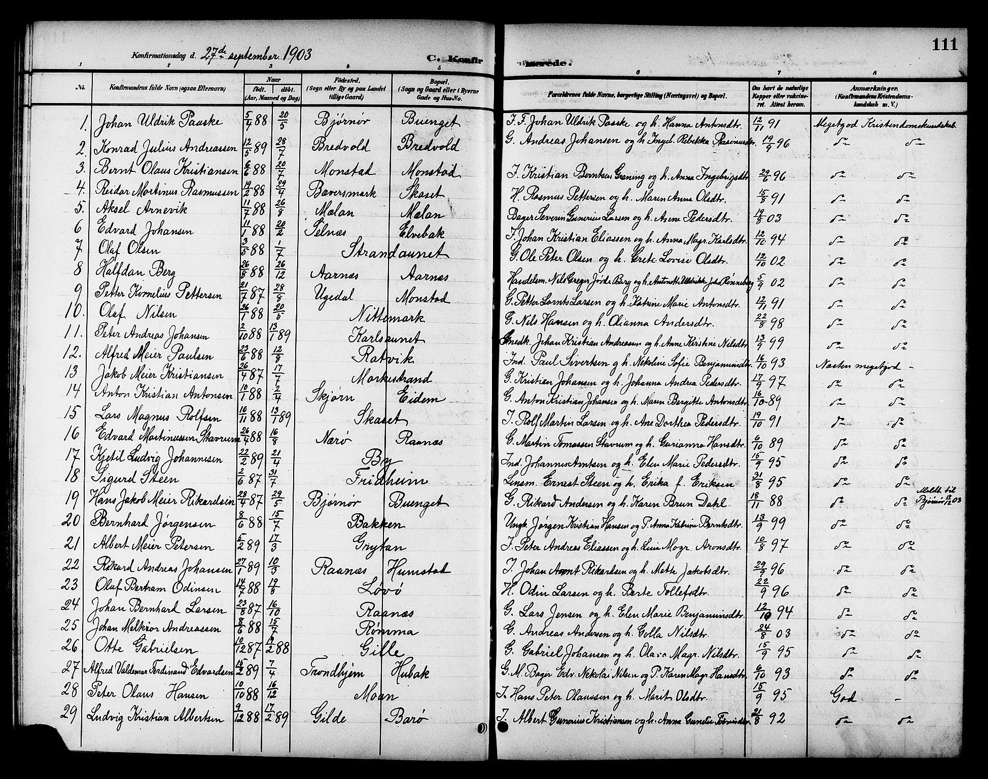 SAT, Ministerialprotokoller, klokkerbøker og fødselsregistre - Sør-Trøndelag, 655/L0688: Klokkerbok nr. 655C04, 1899-1922, s. 111