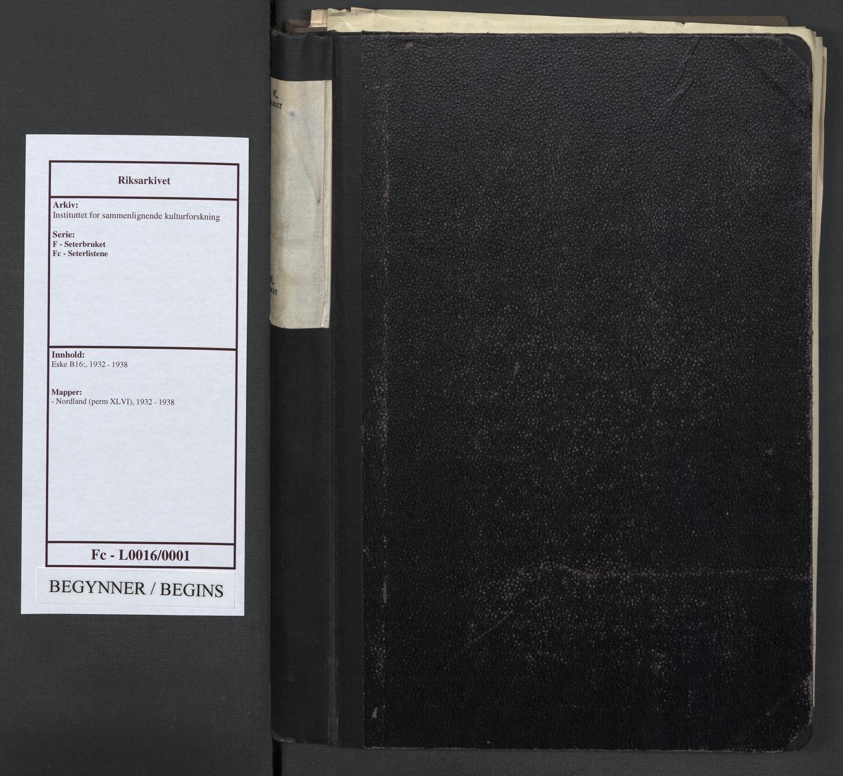 RA, Instituttet for sammenlignende kulturforskning, F/Fc/L0016: Eske B16:, 1932-1938, s. upaginert