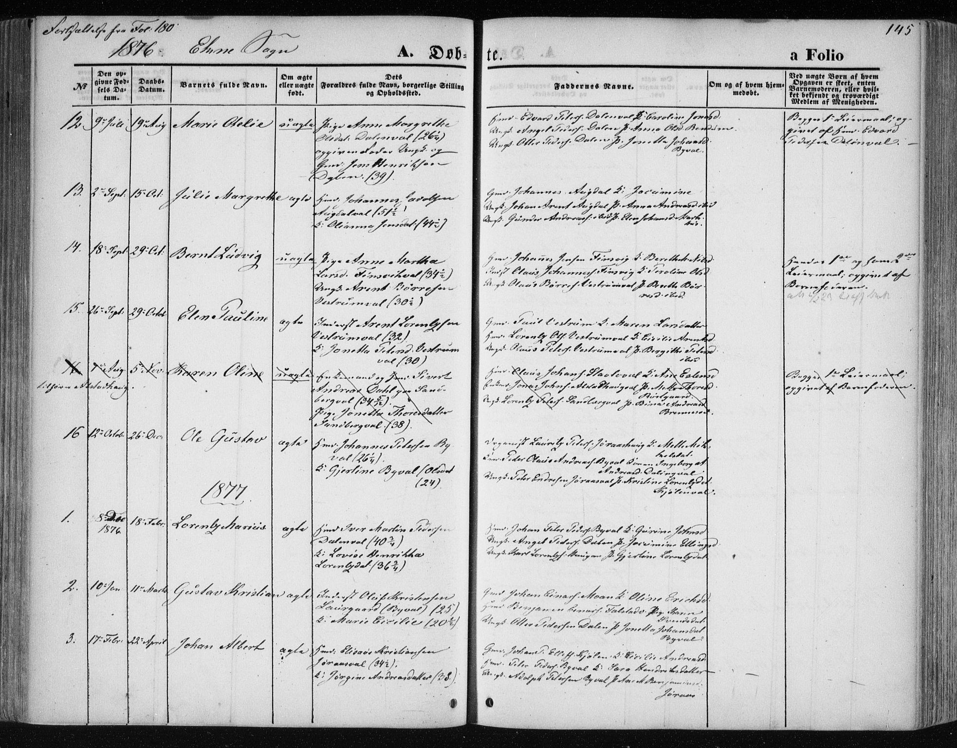 SAT, Ministerialprotokoller, klokkerbøker og fødselsregistre - Nord-Trøndelag, 717/L0158: Ministerialbok nr. 717A08 /2, 1863-1877, s. 145