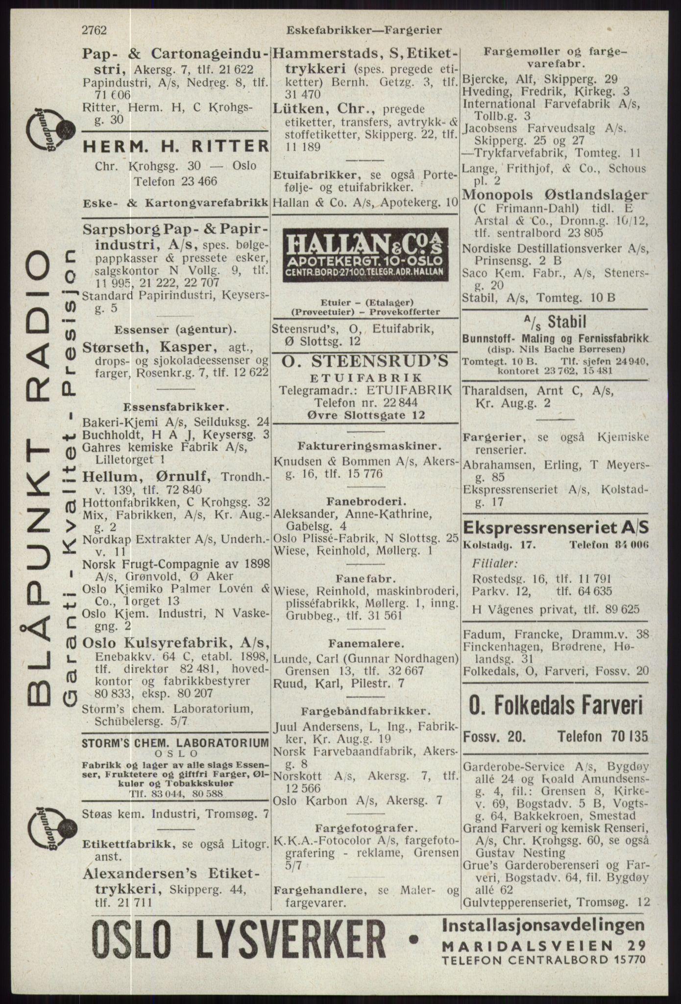 RA, Oslo adressebok (publikasjon)*, 1941, s. 2762