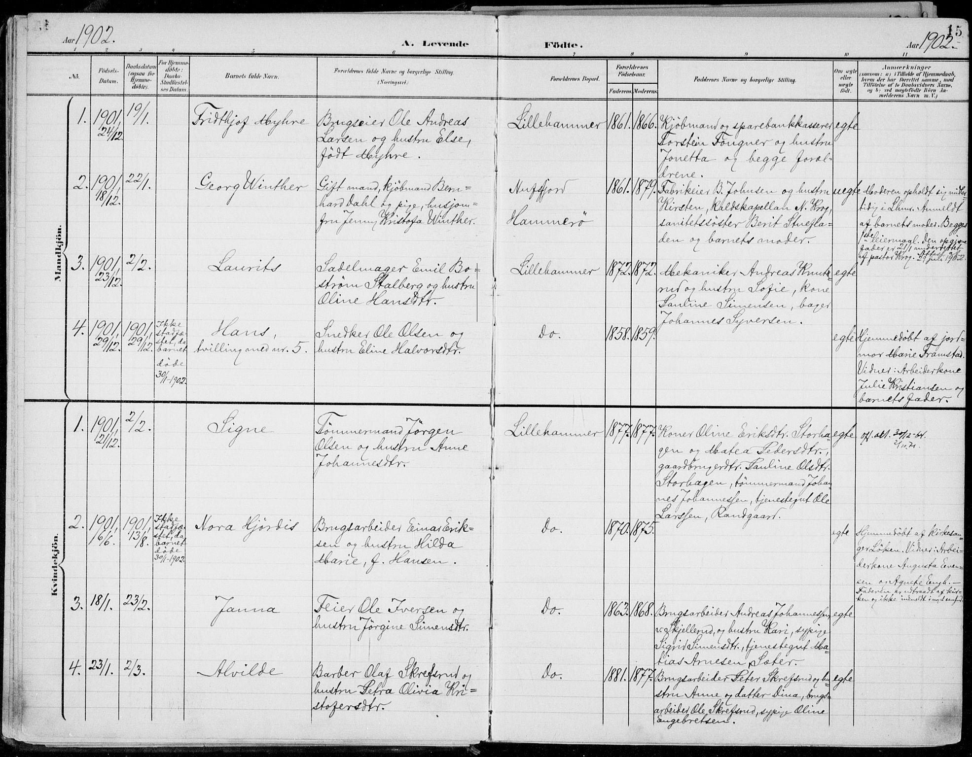 SAH, Lillehammer prestekontor, Ministerialbok nr. 1, 1901-1916, s. 15