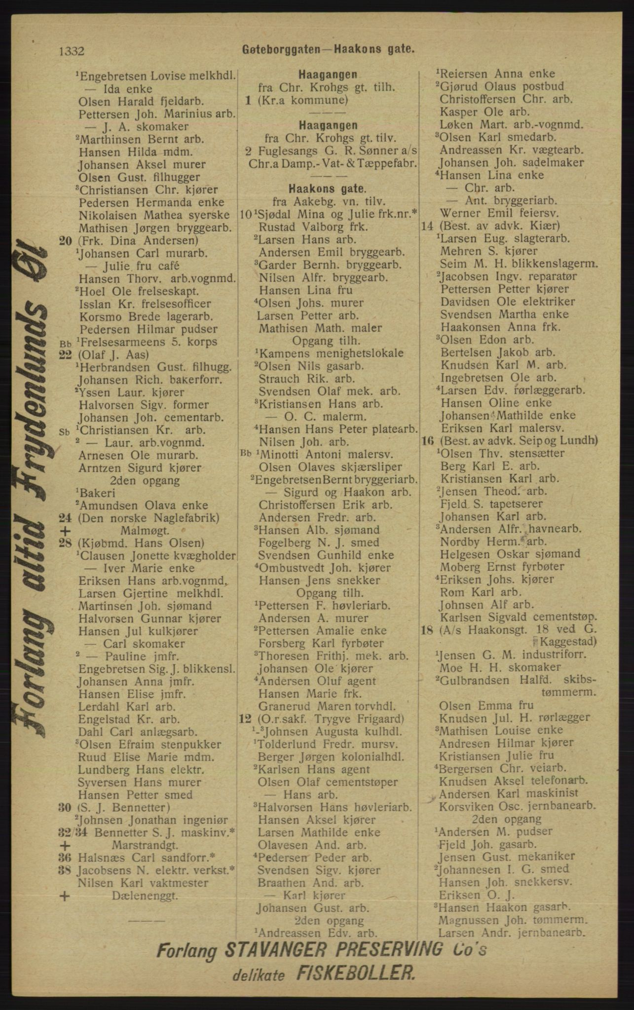 RA, Kristiania adressebok (publikasjon)*, 1913, s. 1332