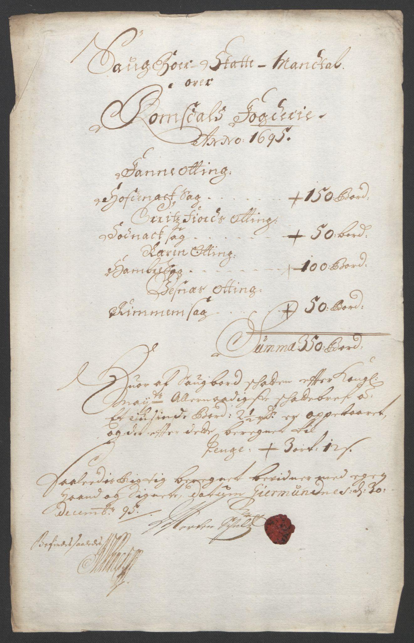 RA, Rentekammeret inntil 1814, Reviderte regnskaper, Fogderegnskap, R55/L3652: Fogderegnskap Romsdal, 1695-1696, s. 71